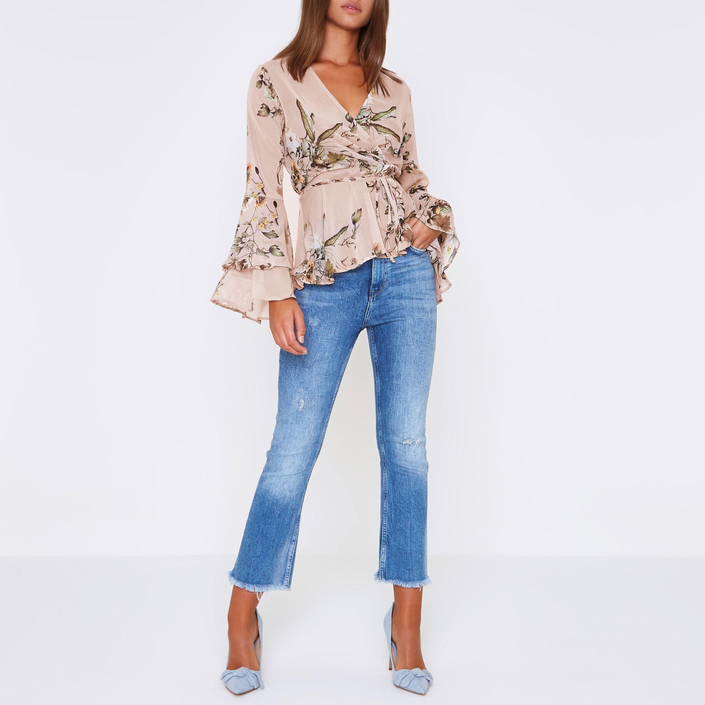 856edeaa9e73a River Island Pink Floral Wrap Frill Sleeve Blouse in Pink - Lyst