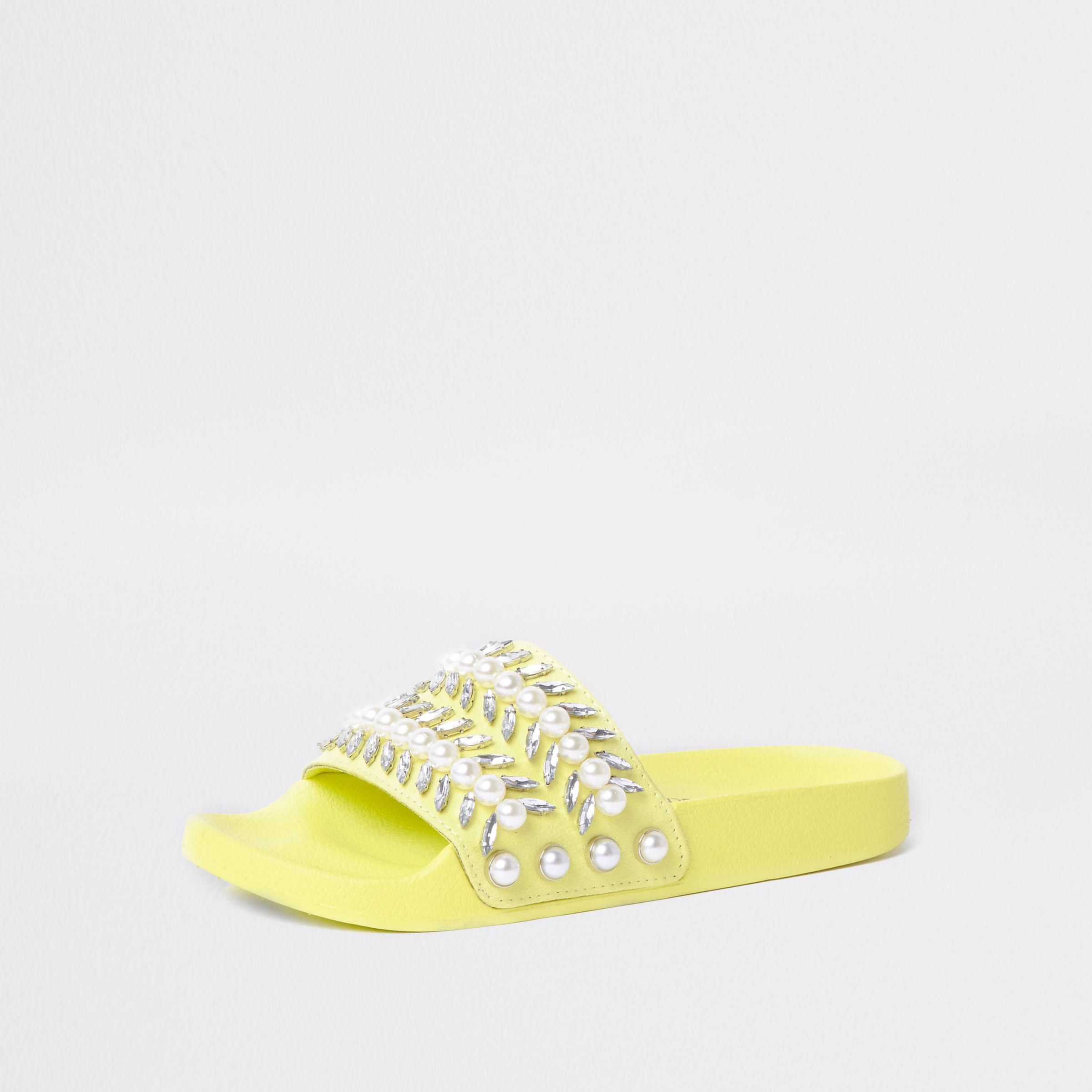 River Island Womens Lime jewel embellished sliders jfzVqBtscx