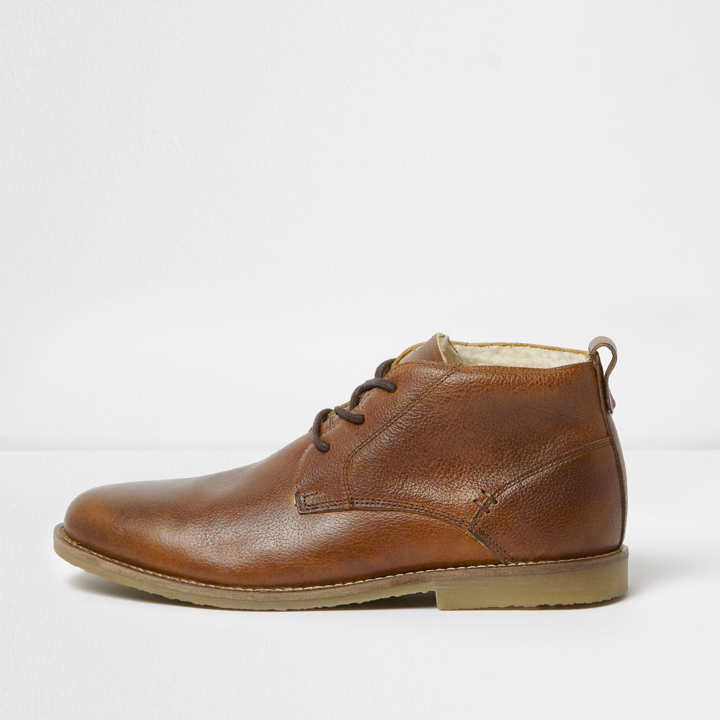 9b6a14ba8abc2 Lyst - River Island Tan Leather Borg Lined Desert Boots in Brown for Men