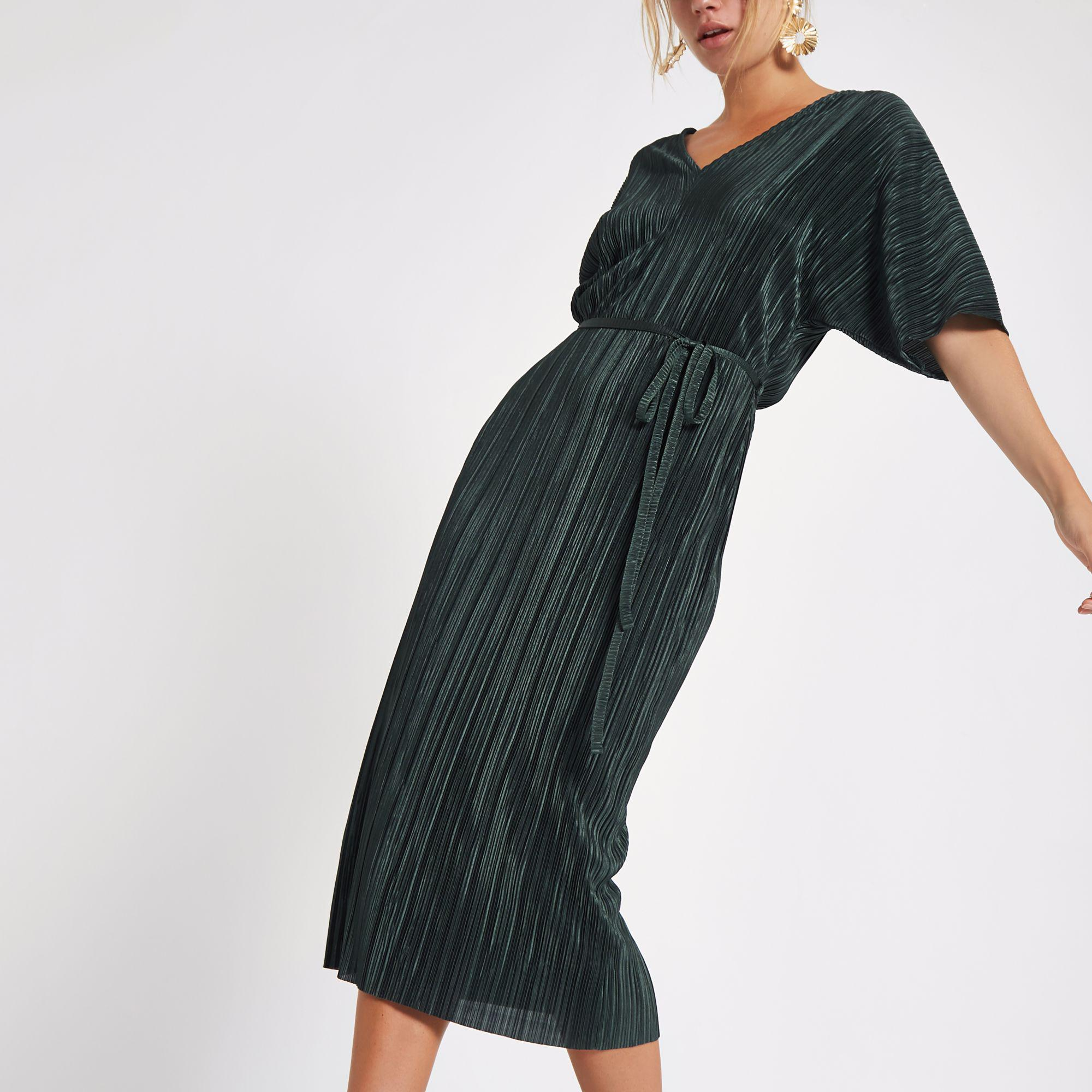 36428688c6c River Island Dark Green Plisse Kimono Sleeve Dress in Green - Lyst