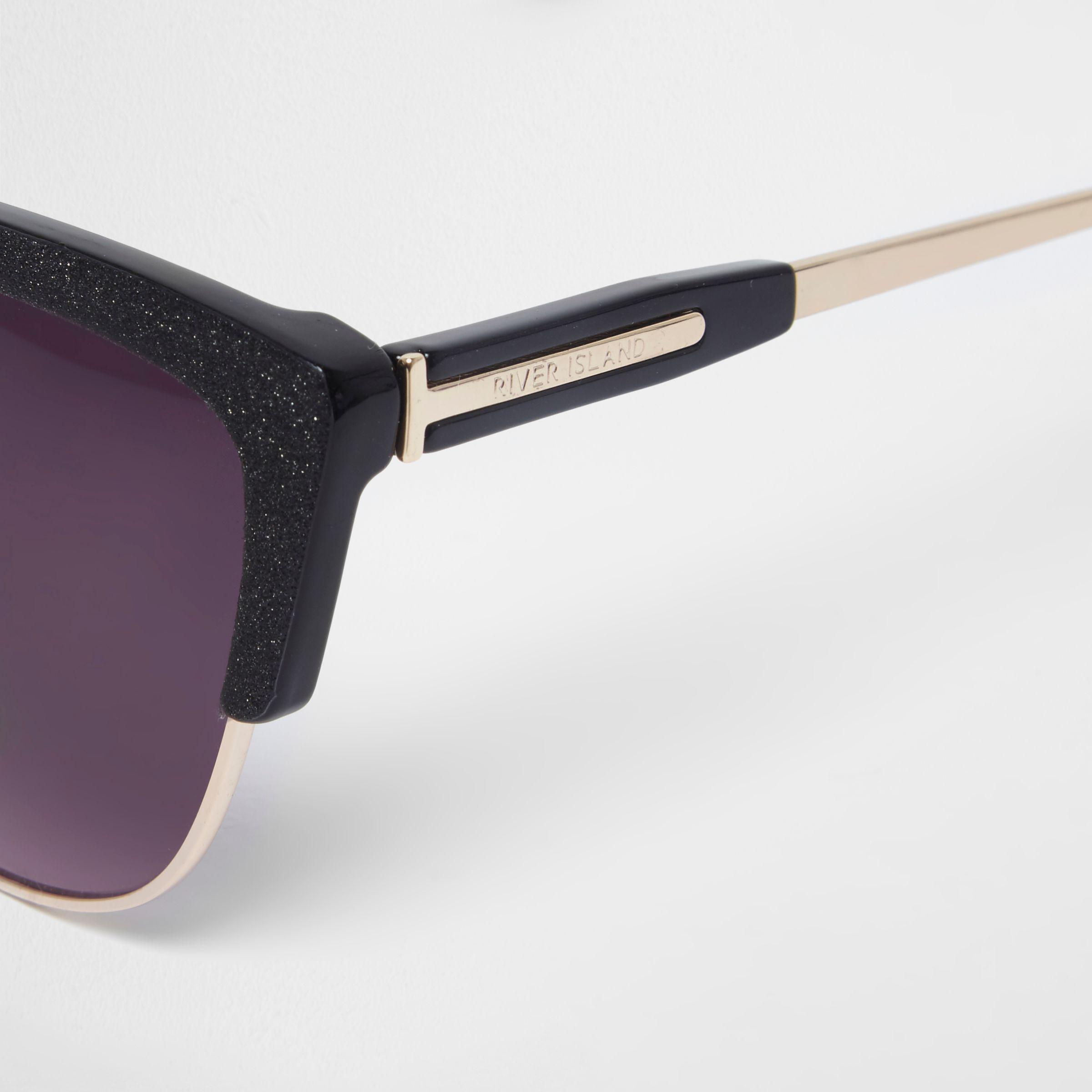 d4f0c8d5a01 Lyst - River Island Black Glitter Cat Eye Oxblood Lens Sunglasses in ...