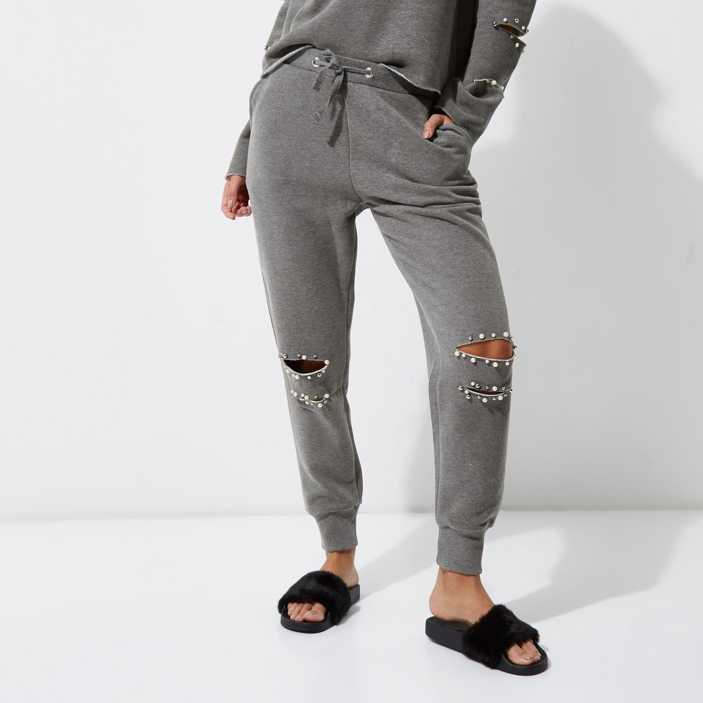 356a5526523388 River Island Grey Faux Pearl Ripped Knee Joggers in Gray - Lyst