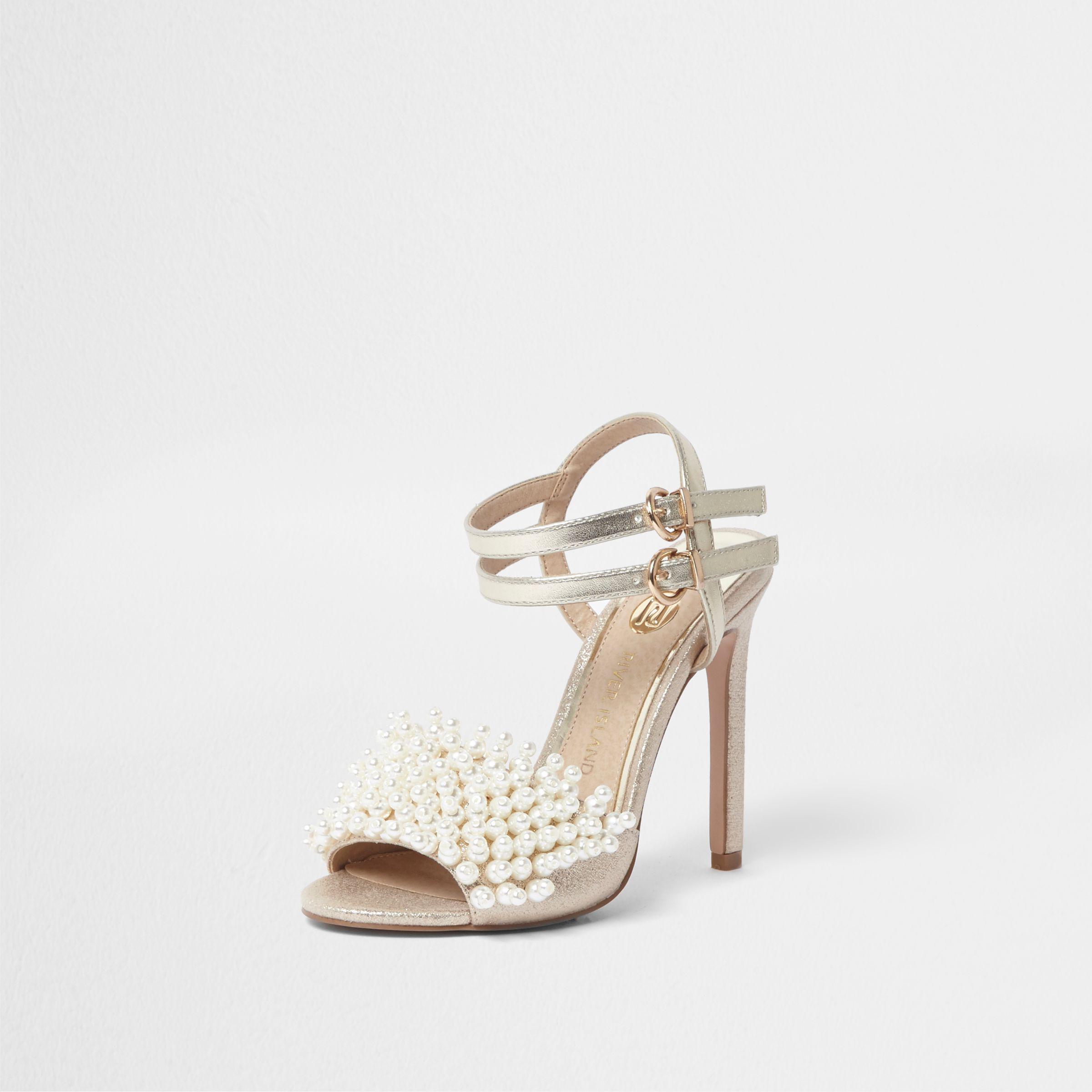 River Island Womens faux pearl vamp strappy heeled sandals duaevl5Id