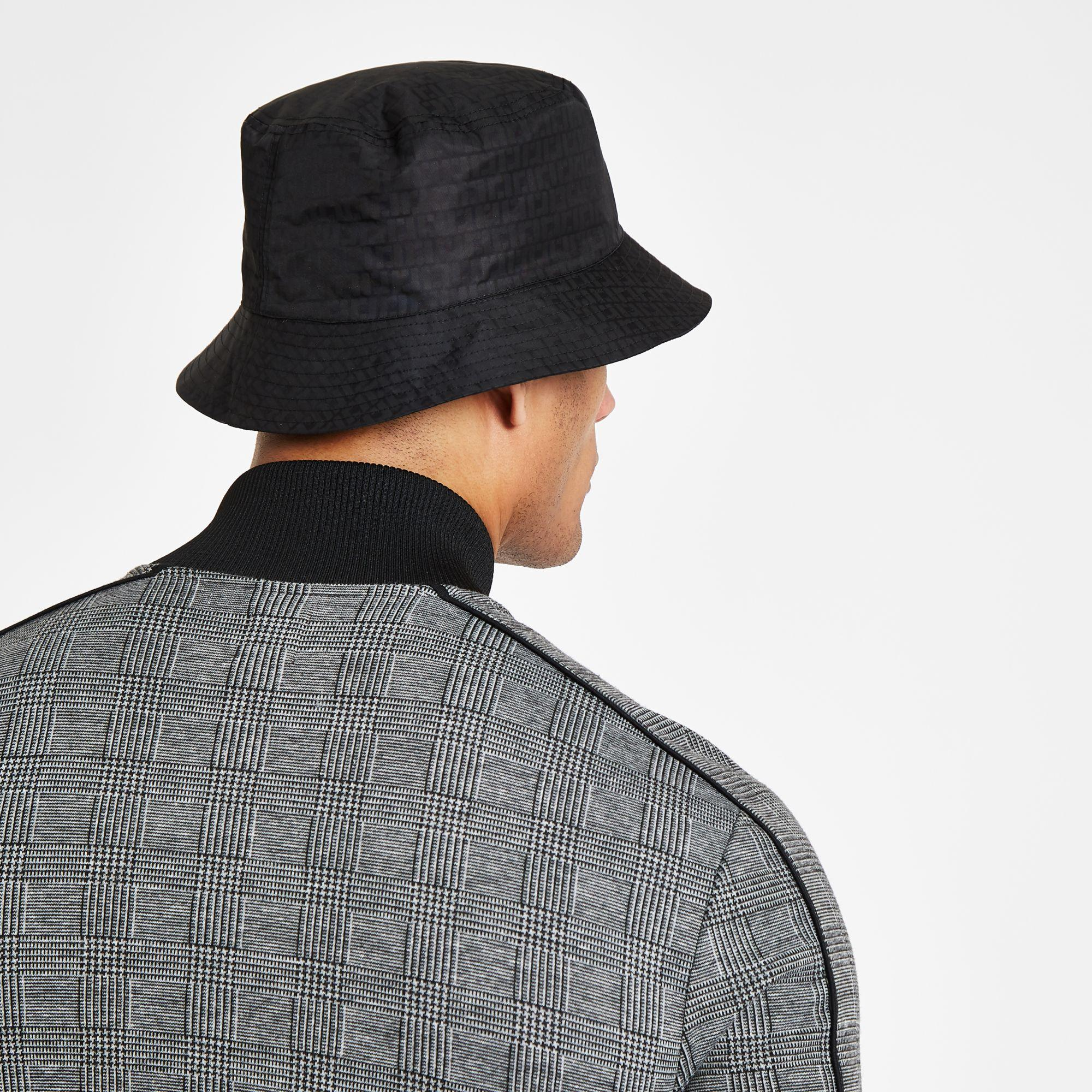 df4a4b0654c Lyst - River Island Ri Monogram Bucket Hat in Black for Men