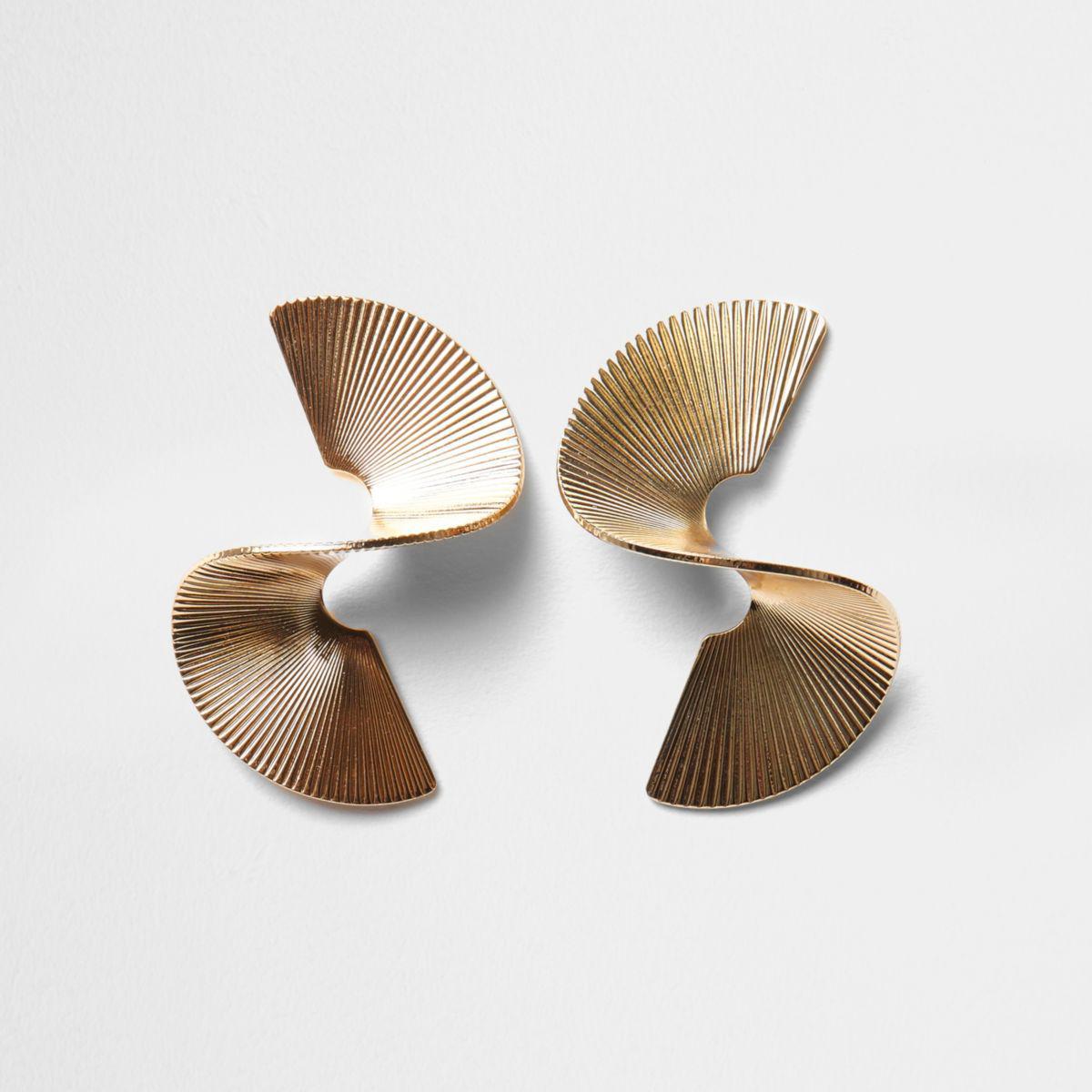 River island Gold Tone Twist Sculpted Earrings Gold Tone Twist ...