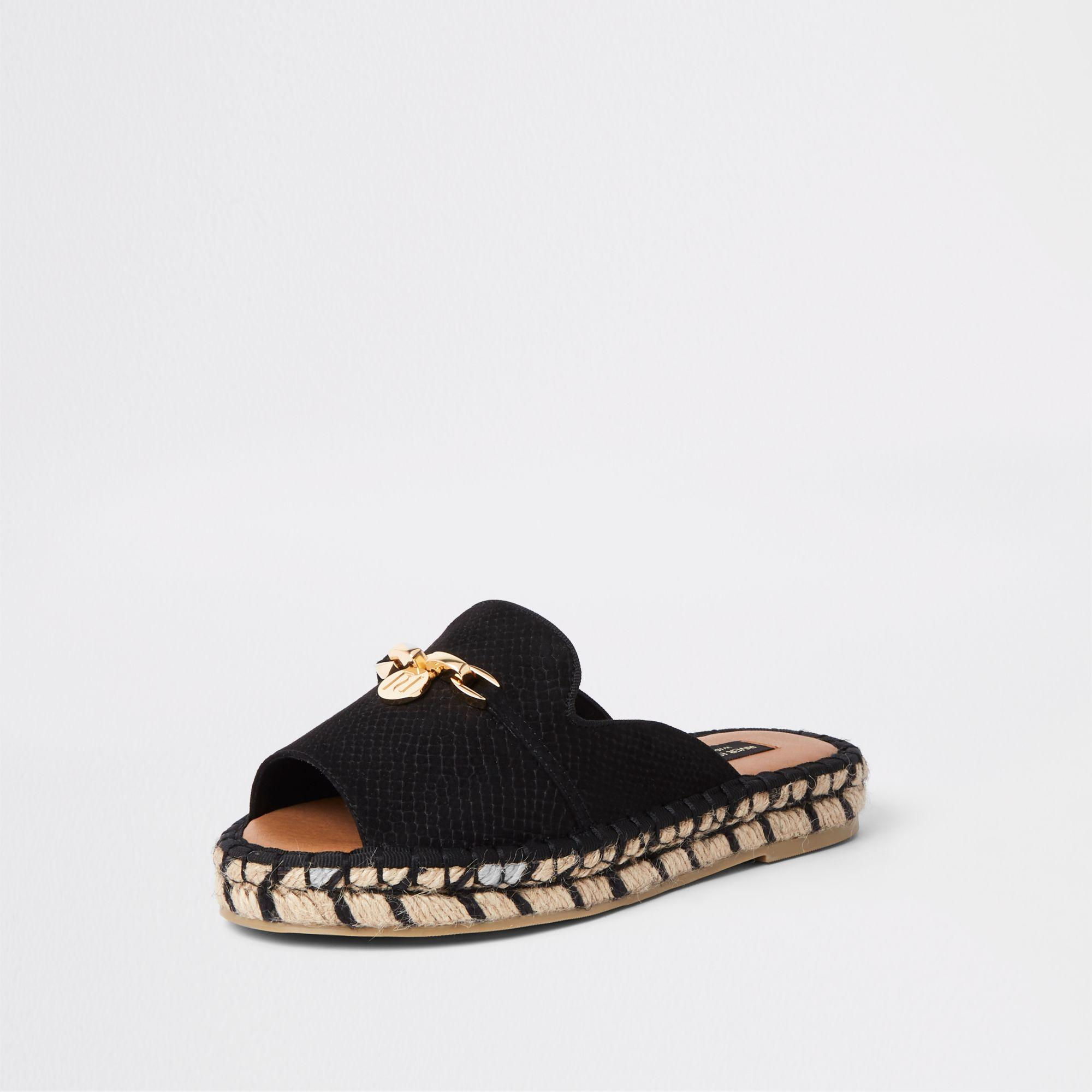 4da89a1d1f0 River Island - Black Espadrille Peep Toe Wide Fit Sandals - Lyst. View  fullscreen