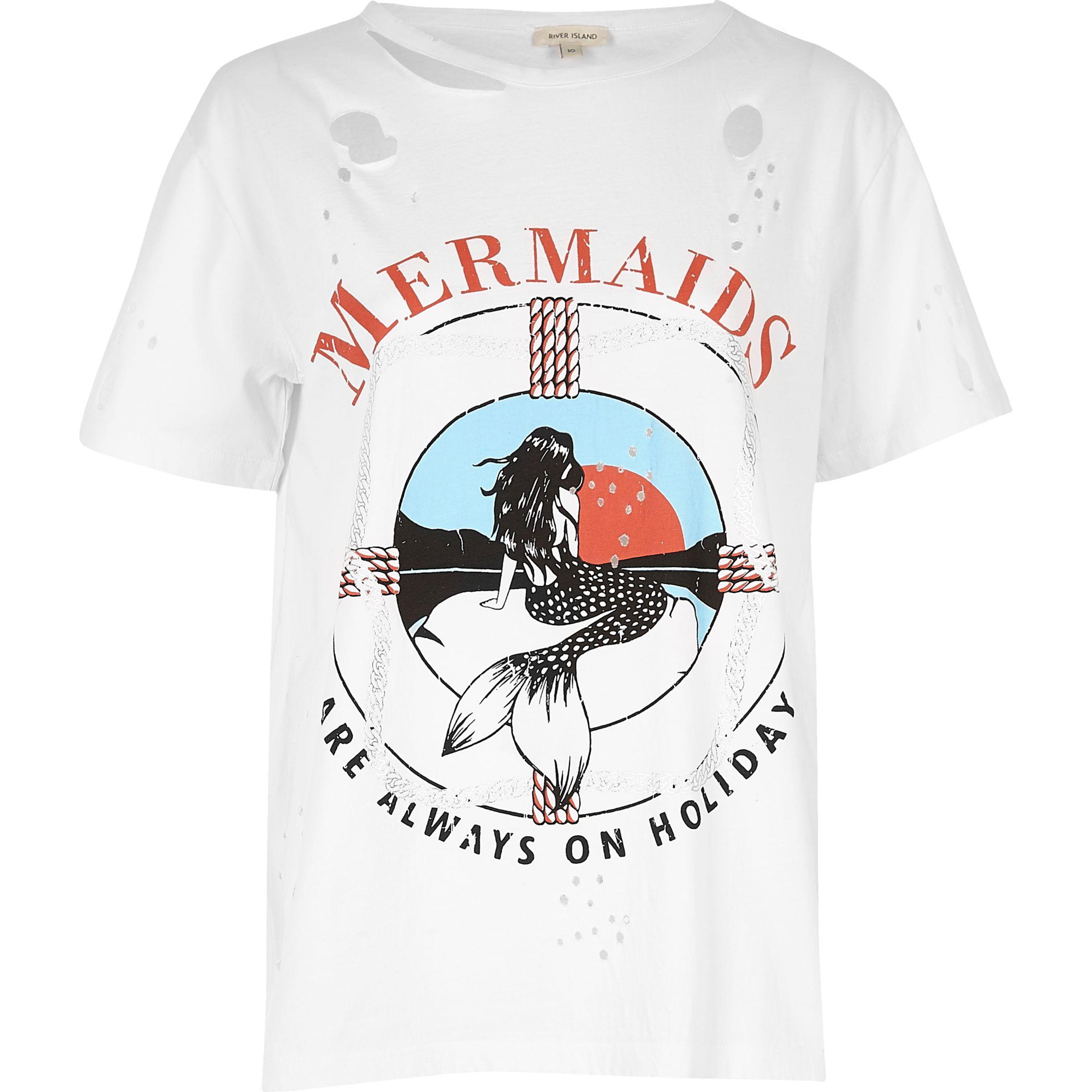 8f7c11c52d3 River Island White Mermaid Print Distressed Tee in White for Men - Lyst