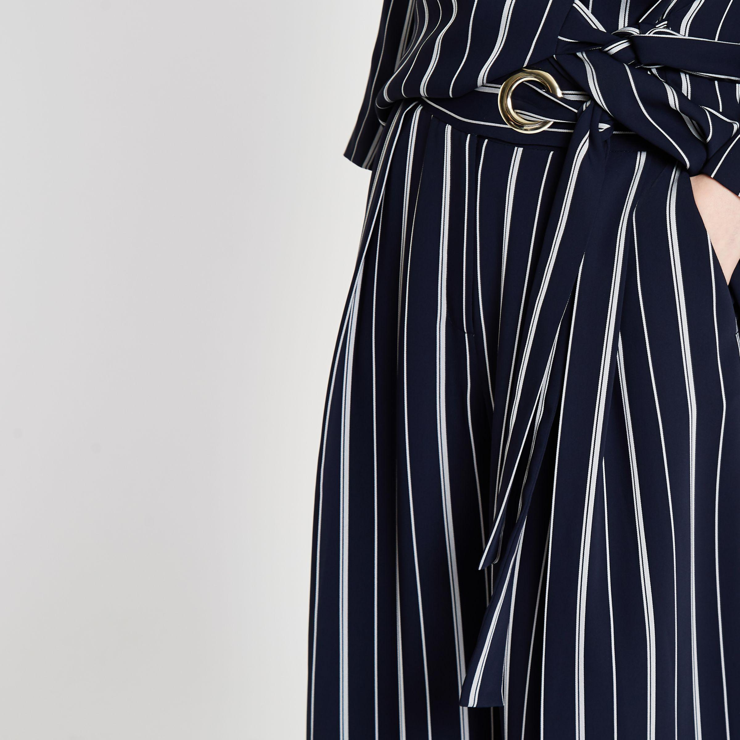 Womens Navy stripe eyelet tie side wide leg trousers River Island j9j0Joj