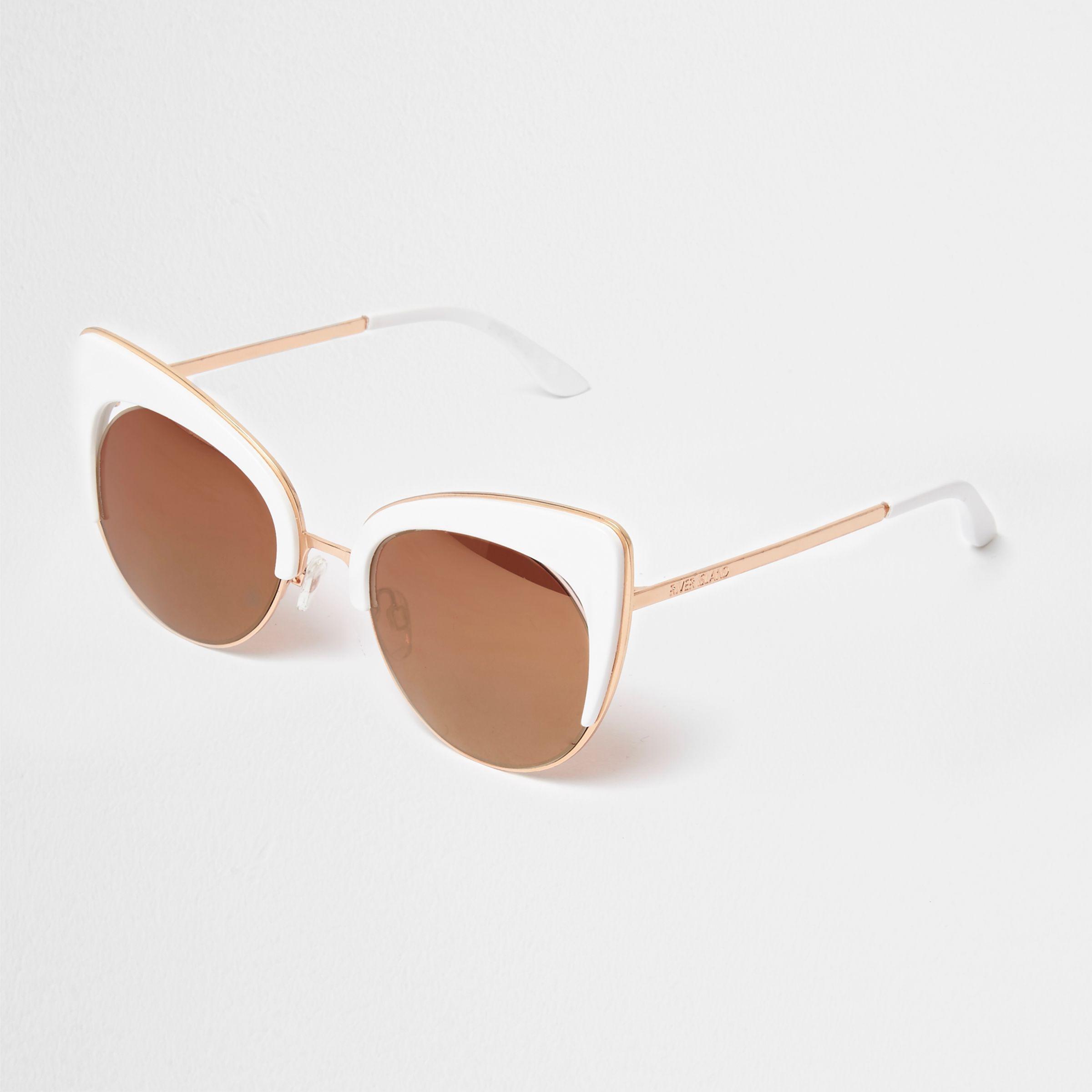 d931a87b0e76 Lyst - River Island White Gold Tone Cat Eye Sunglasses in White