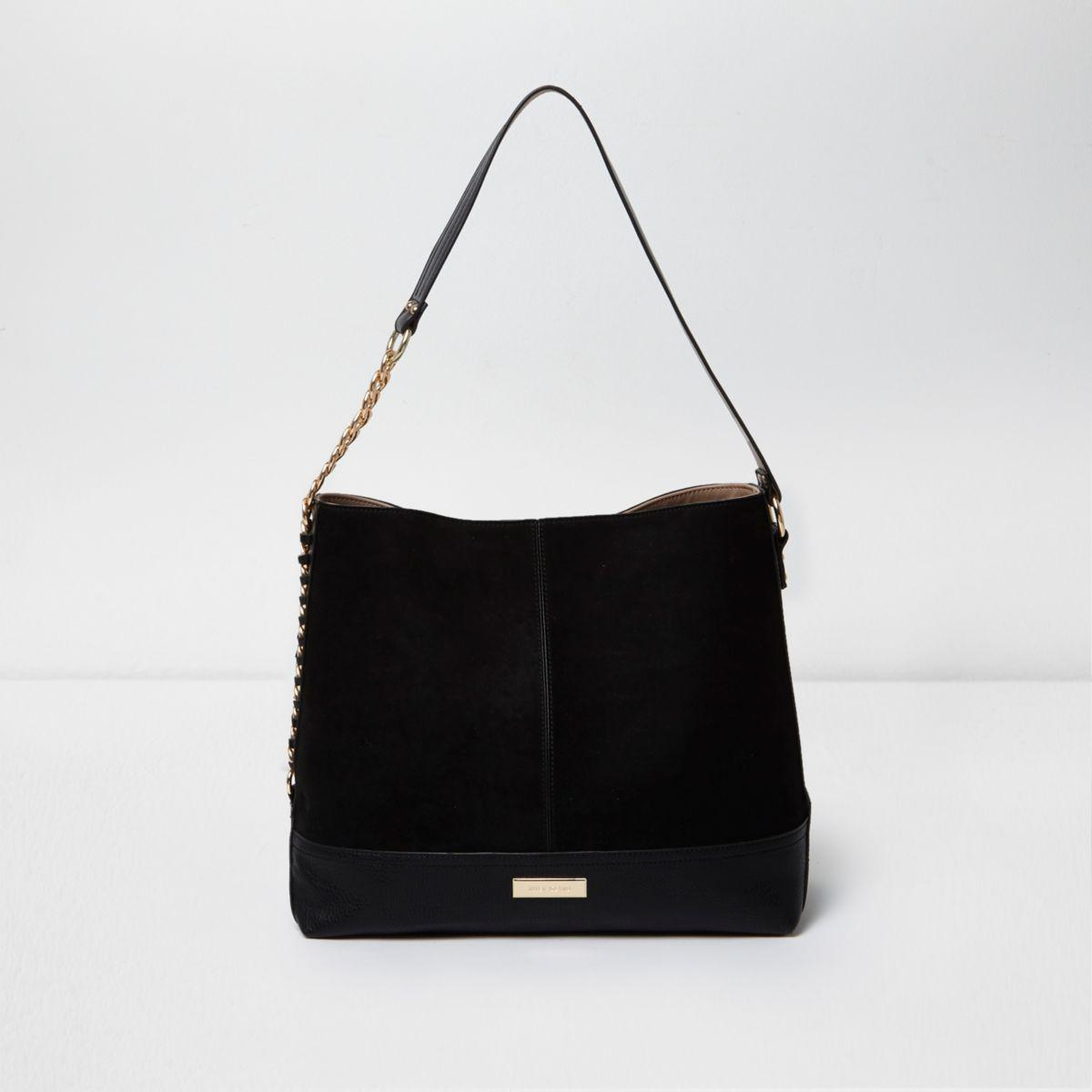 1310ad5bfb River Island Black Chain Side Slouch Bag in Black - Lyst