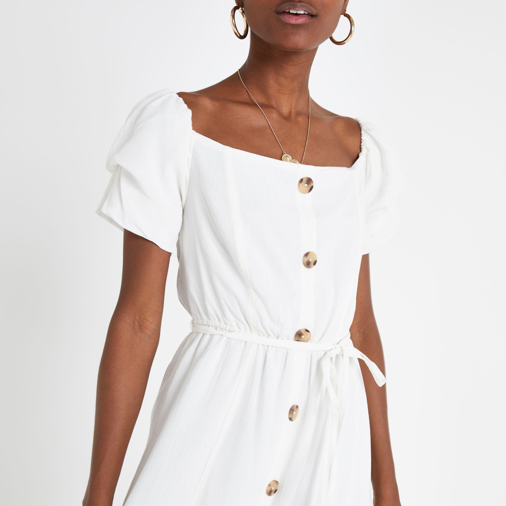 ff801f37f86 ... White Bardot Button Front Maxi Dress - Lyst. View fullscreen