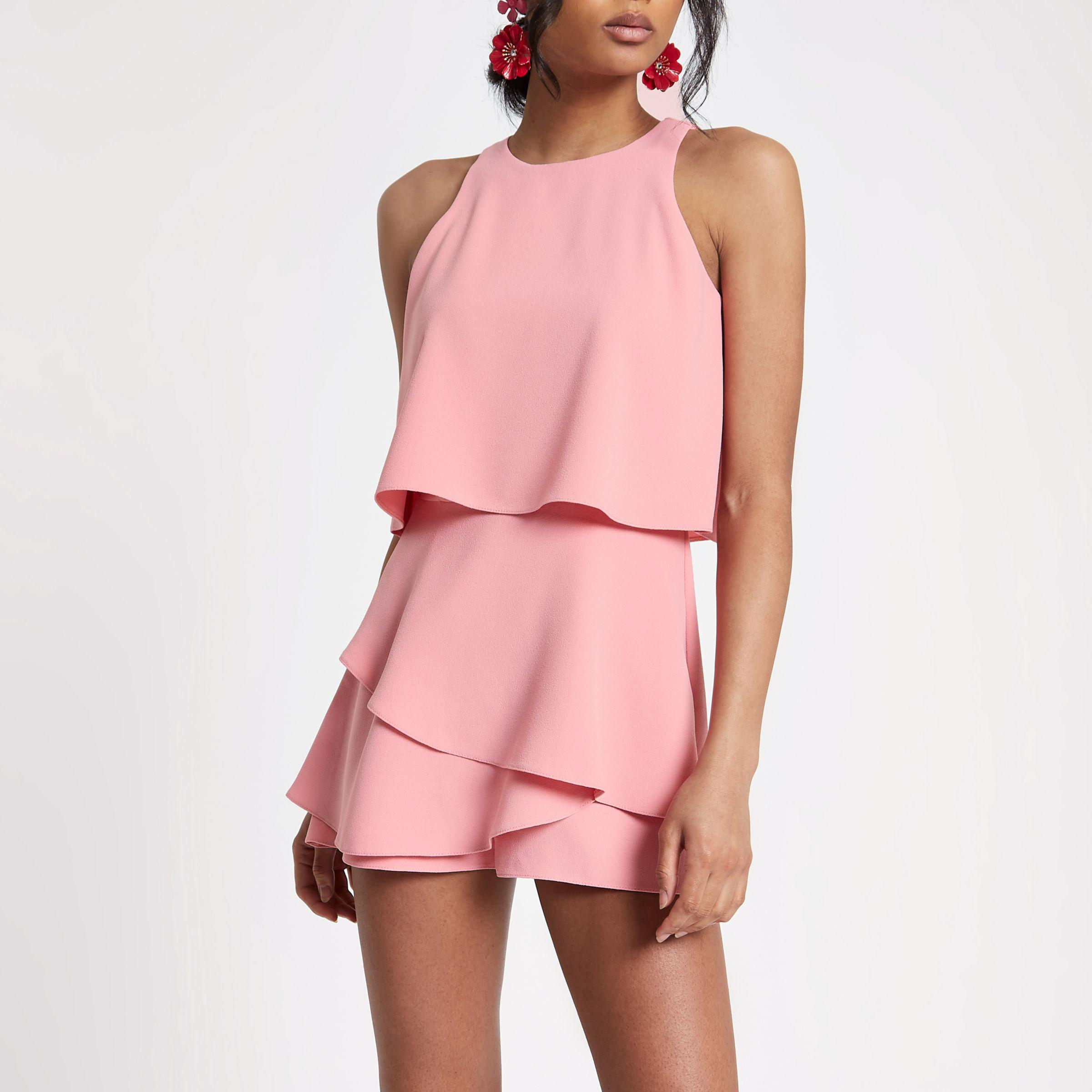 4dad2ebe3cf8 River Island Pink Tiered Frill Playsuit in Pink - Lyst