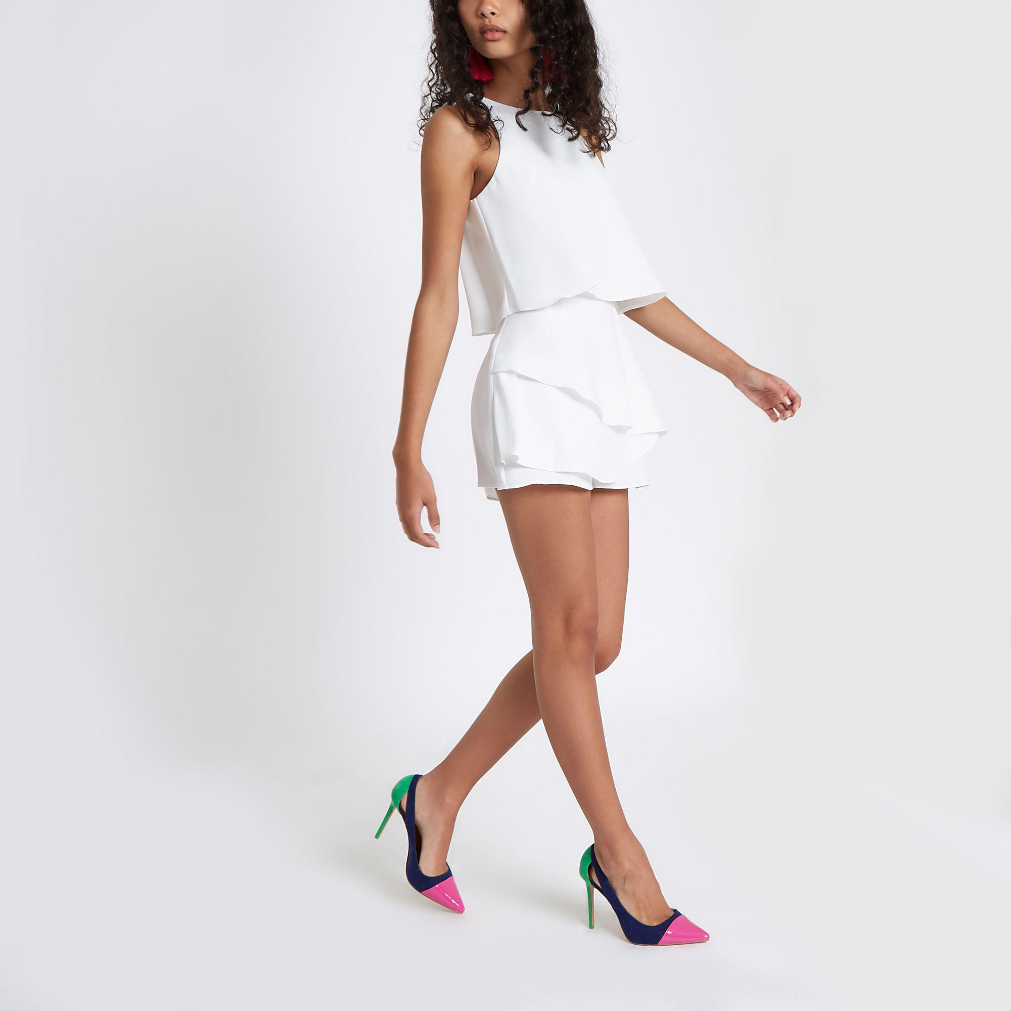 8ea539dd41c River Island Tiered Frill Sleeveless Playsuit in White - Lyst