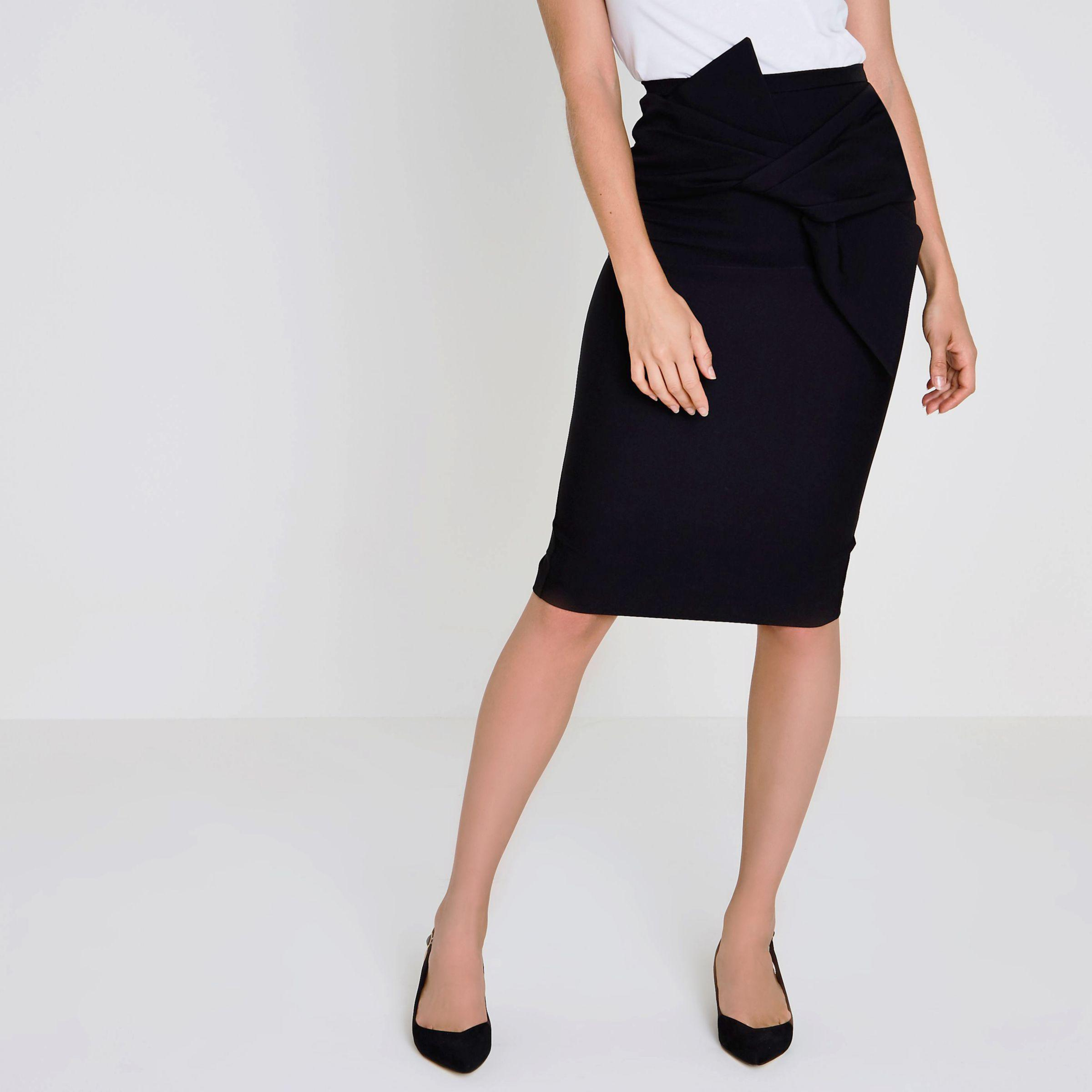 5c25daa97c River Island Black Bow Detail Pencil Skirt in Black - Lyst