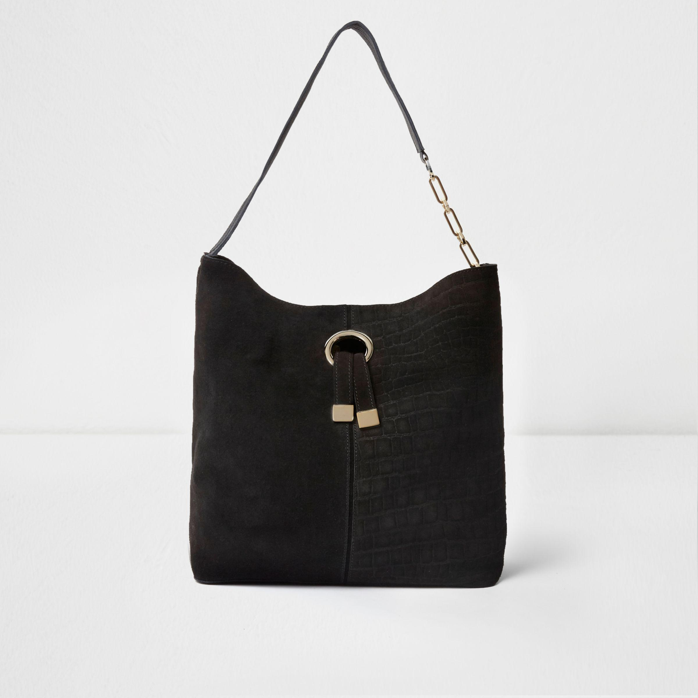 ef1c2445b1 Lyst - River Island Black Suede Ring Front Underarm Slouch Bag in Black