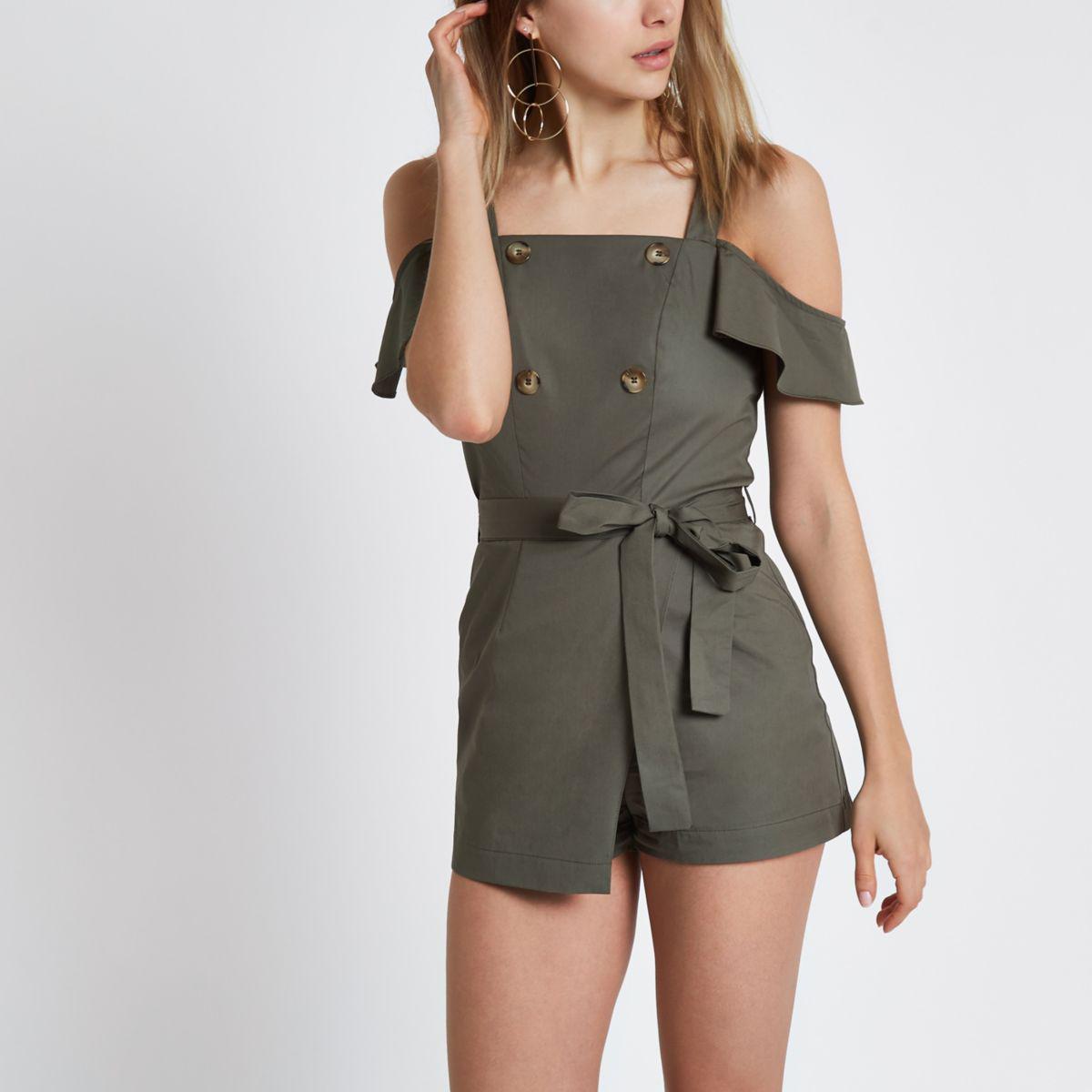 For Sale Footlocker Womens Khaki bardot frill sleeve playsuit River Island Clean And Classic Cheap Shop 1KS4O