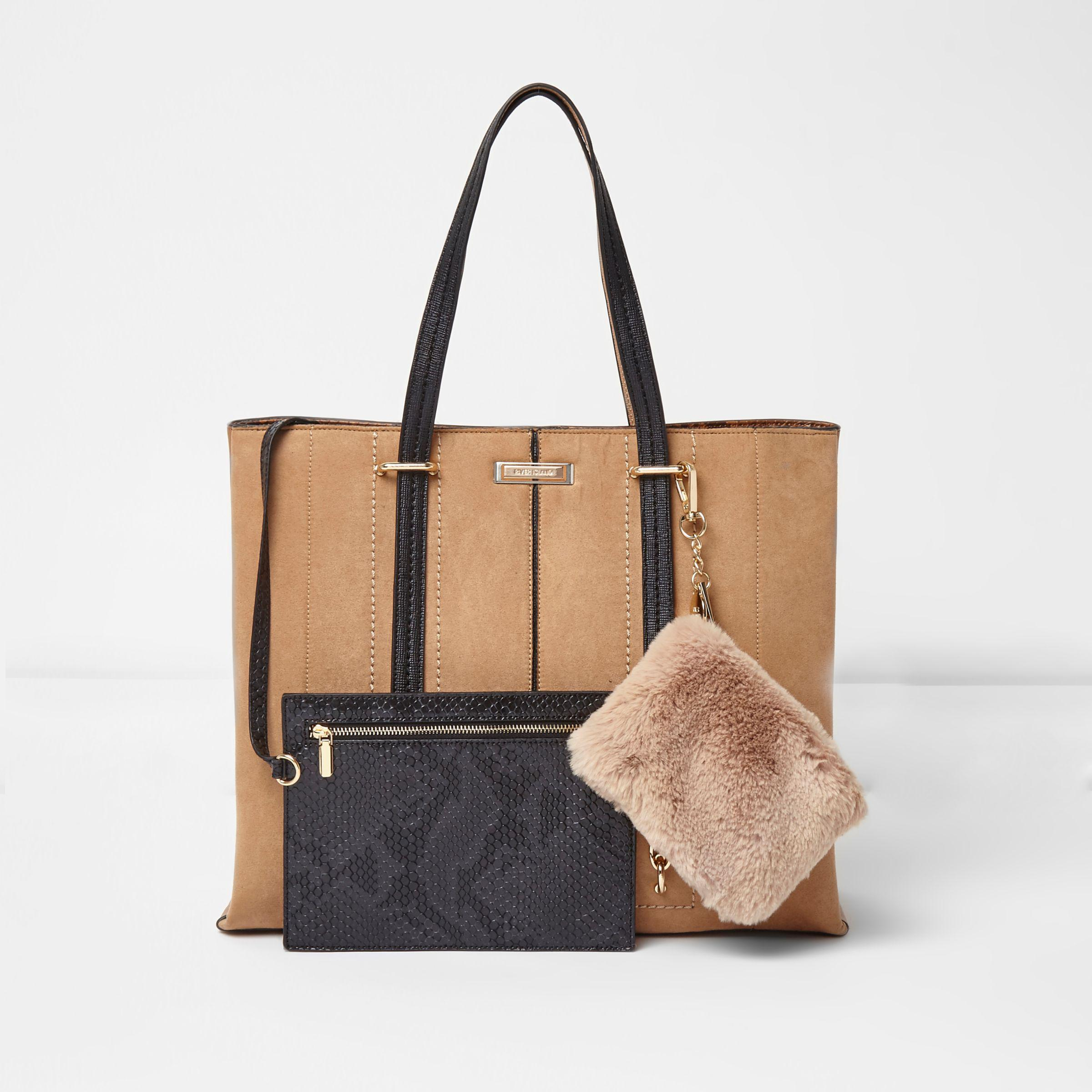 3bd14f0ce3 River Island Tan Long Handle Faux Fur Pouch Tote Bag in Brown - Lyst