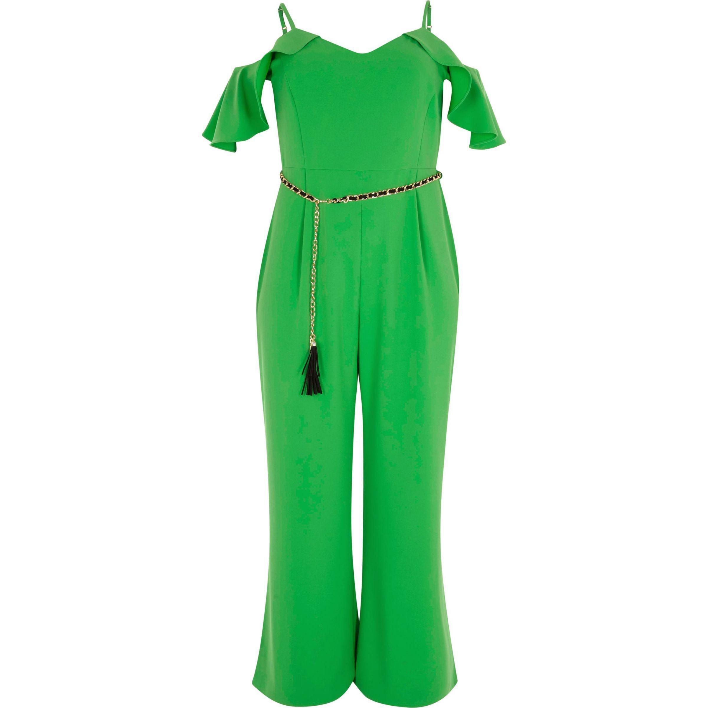 398a6ae8b602 Lyst - River Island Plus Green Frill Sleeve Bardot Jumpsuit in Green