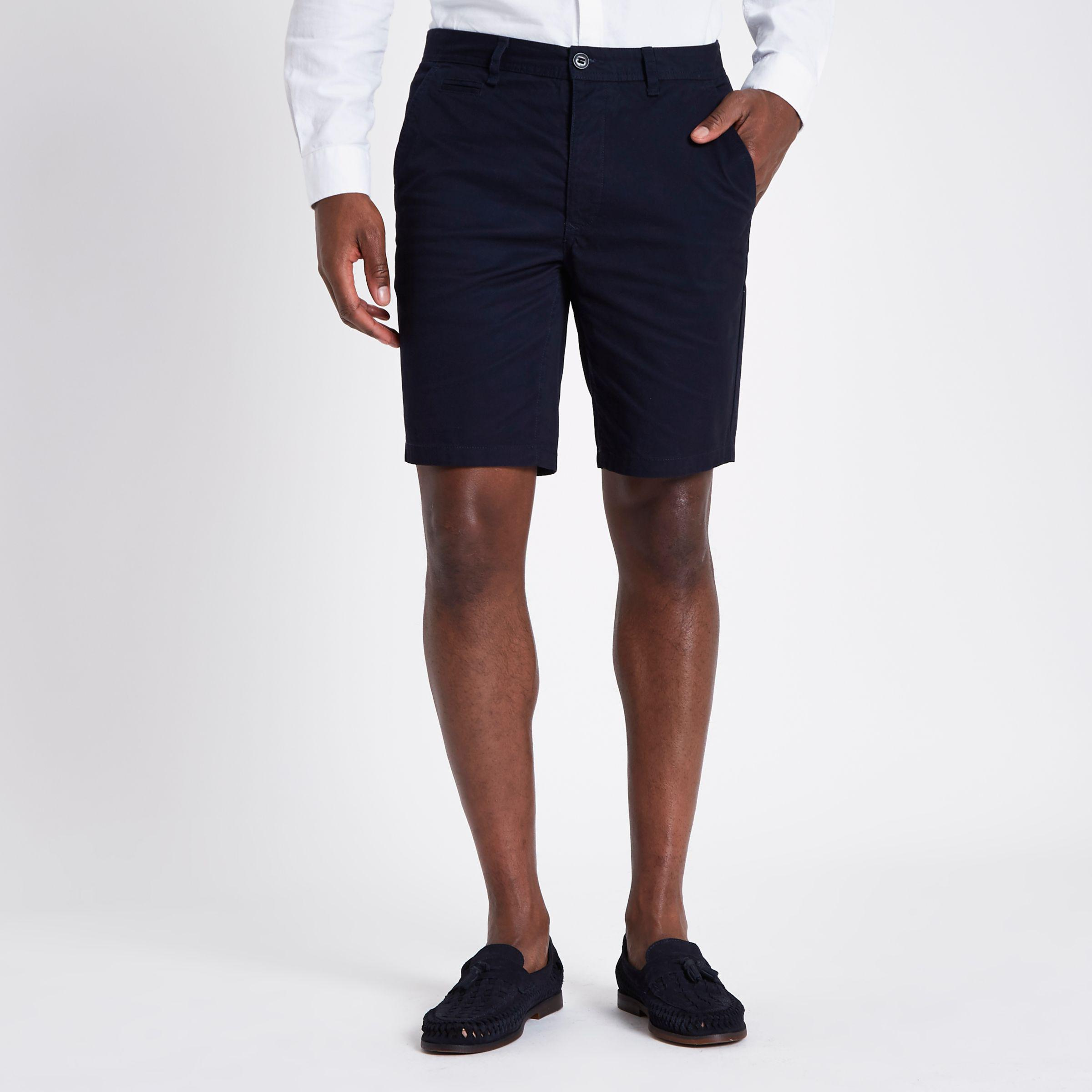 Mens Navy and tan slim fit chino shorts multipack River Island Clearance Pay With Visa iVzGGsf