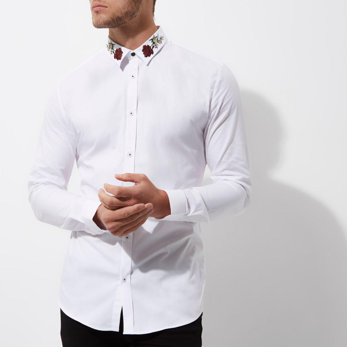 Lyst River Island White Embroidered Collar Muscle Fit Shirt In