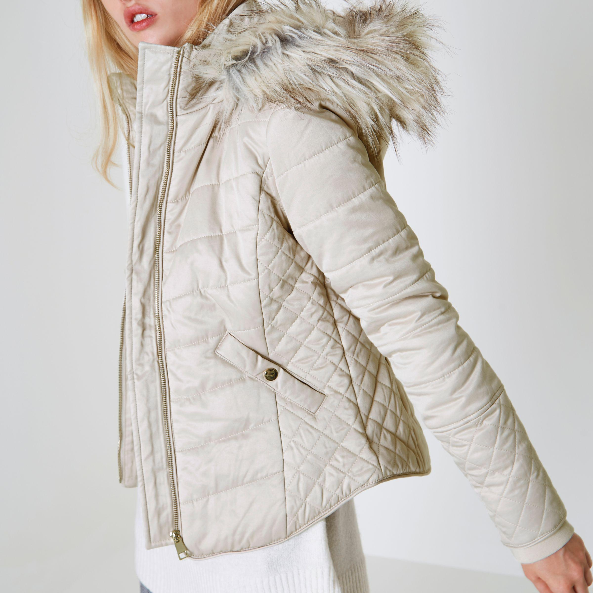 93ab69fab94a Lyst - River Island Cream Quilted Fur Trim Puffer Jacket in Natural