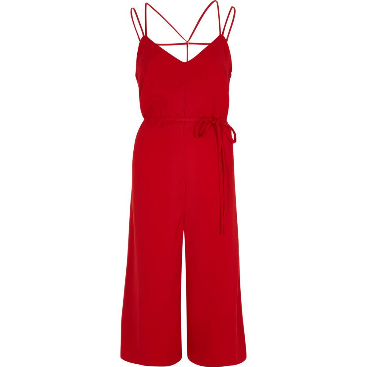 River Island Red Playsuit
