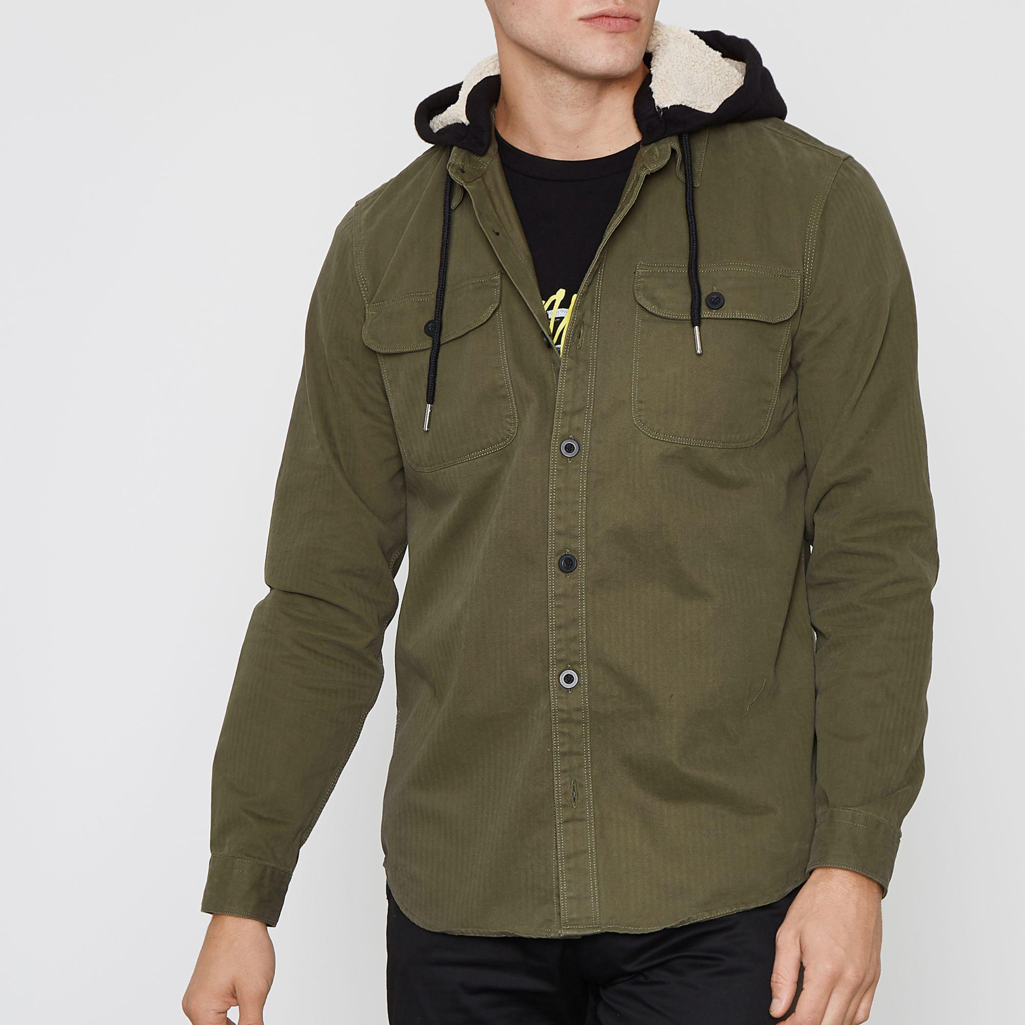 c04000fc6c9 River Island Khaki Long Sleeve Borg Lined Hood Shirt in Natural for ...