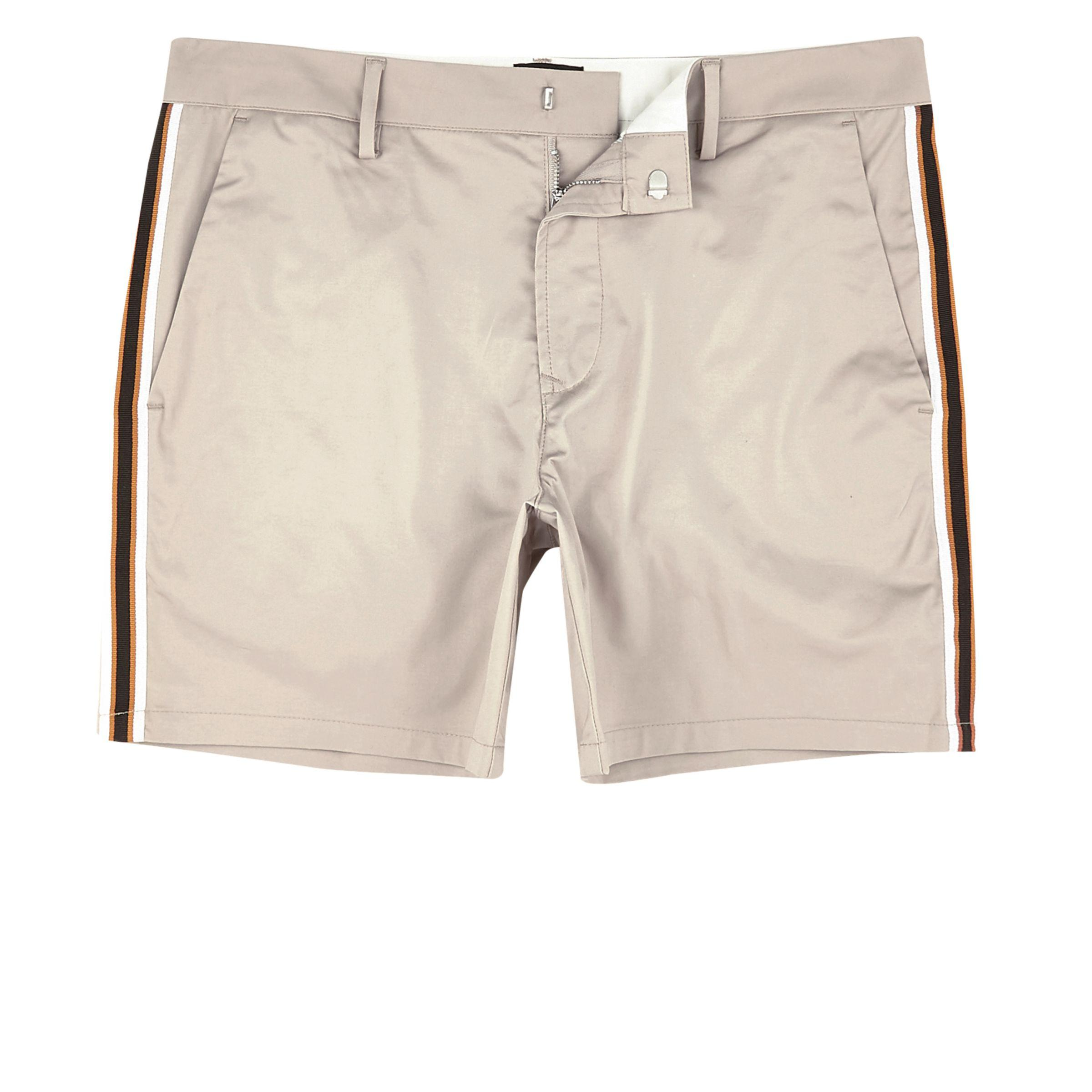 Mens Light Brown tape side slim fit chino shorts River Island 8JriJ5xzmu
