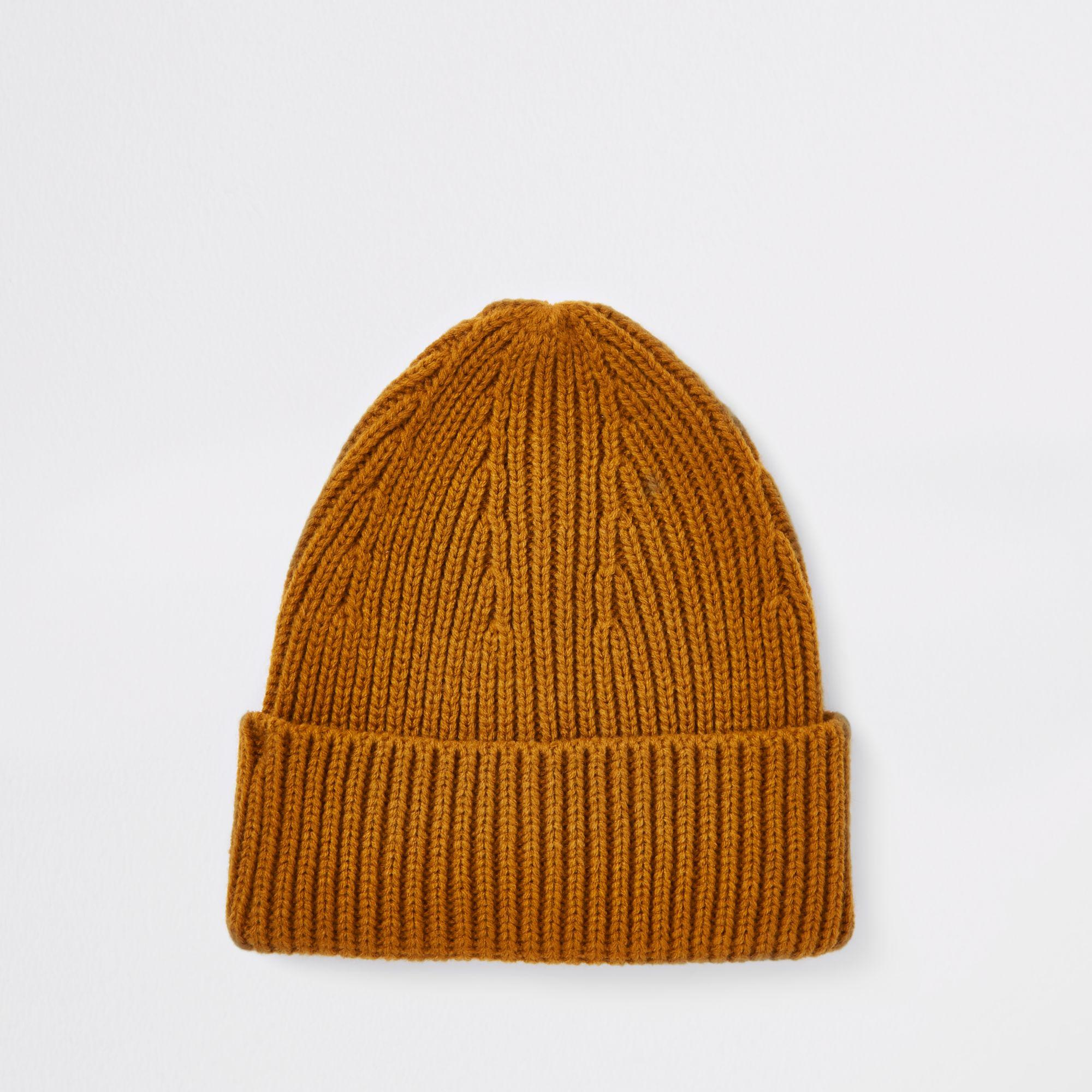 dab34a5ee62 River Island Fisherman Beanie Hat in Yellow for Men - Lyst