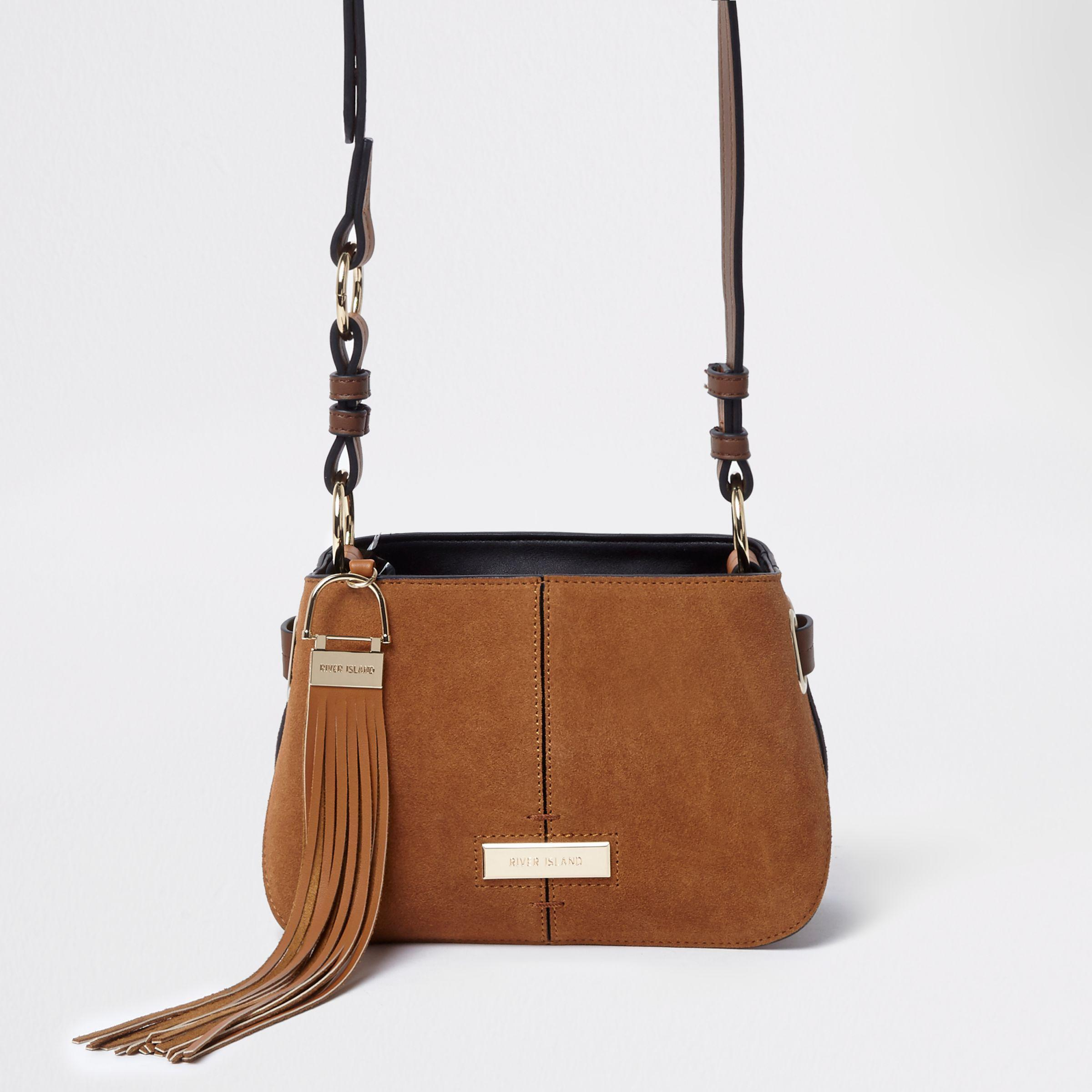 06be2a417 River Island Tan Suede Tassel Leather Cross Body Bag in Brown - Lyst