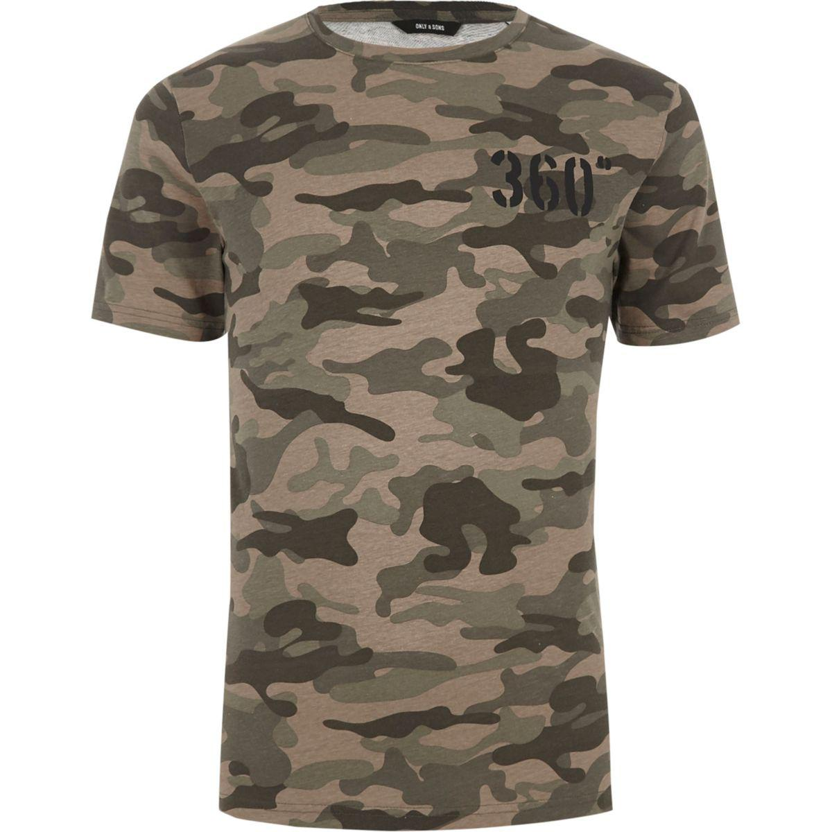 River island green only sons camo print t shirt green for Camo print t shirt
