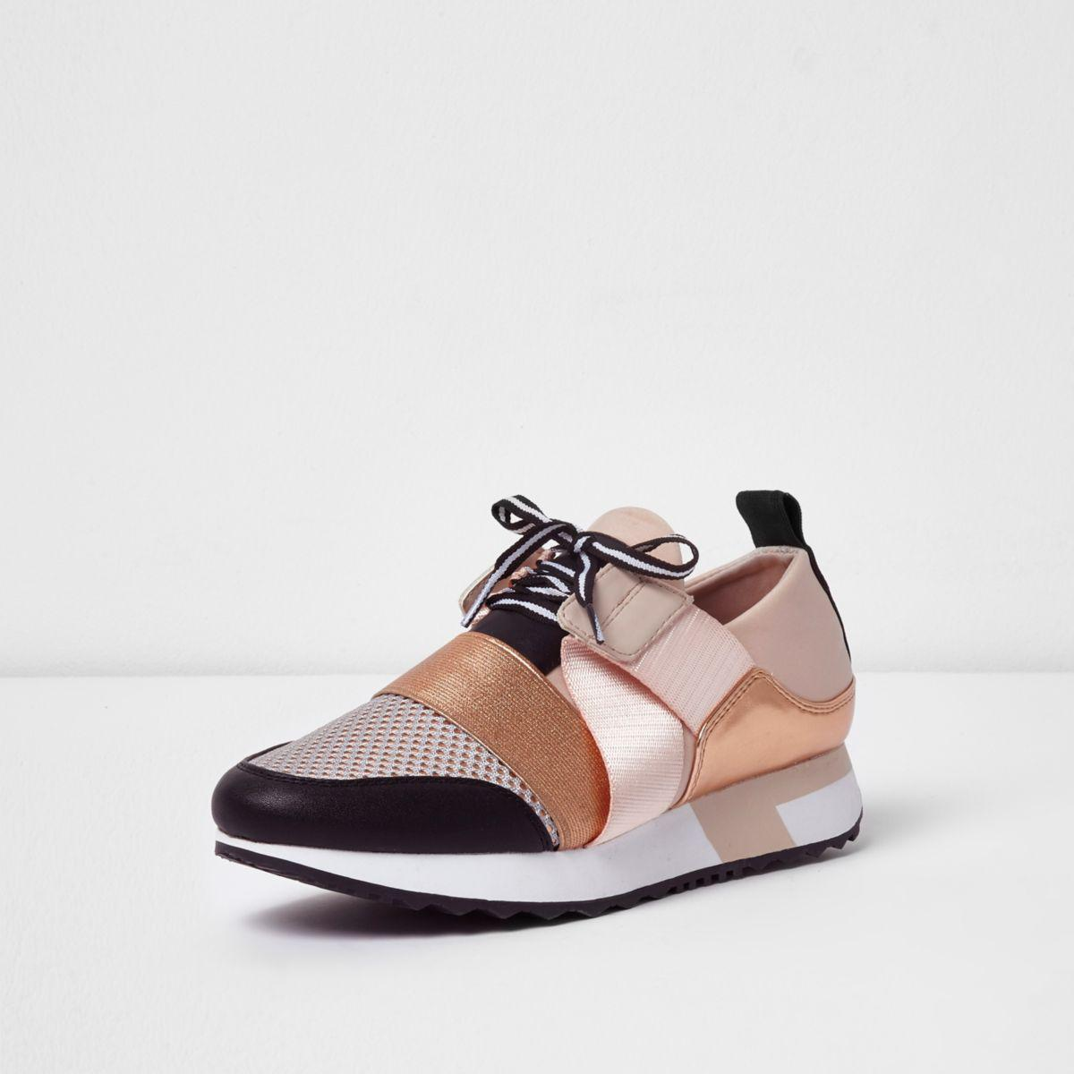 Lyst River Island Rose Gold Metallic Lace Up Runner