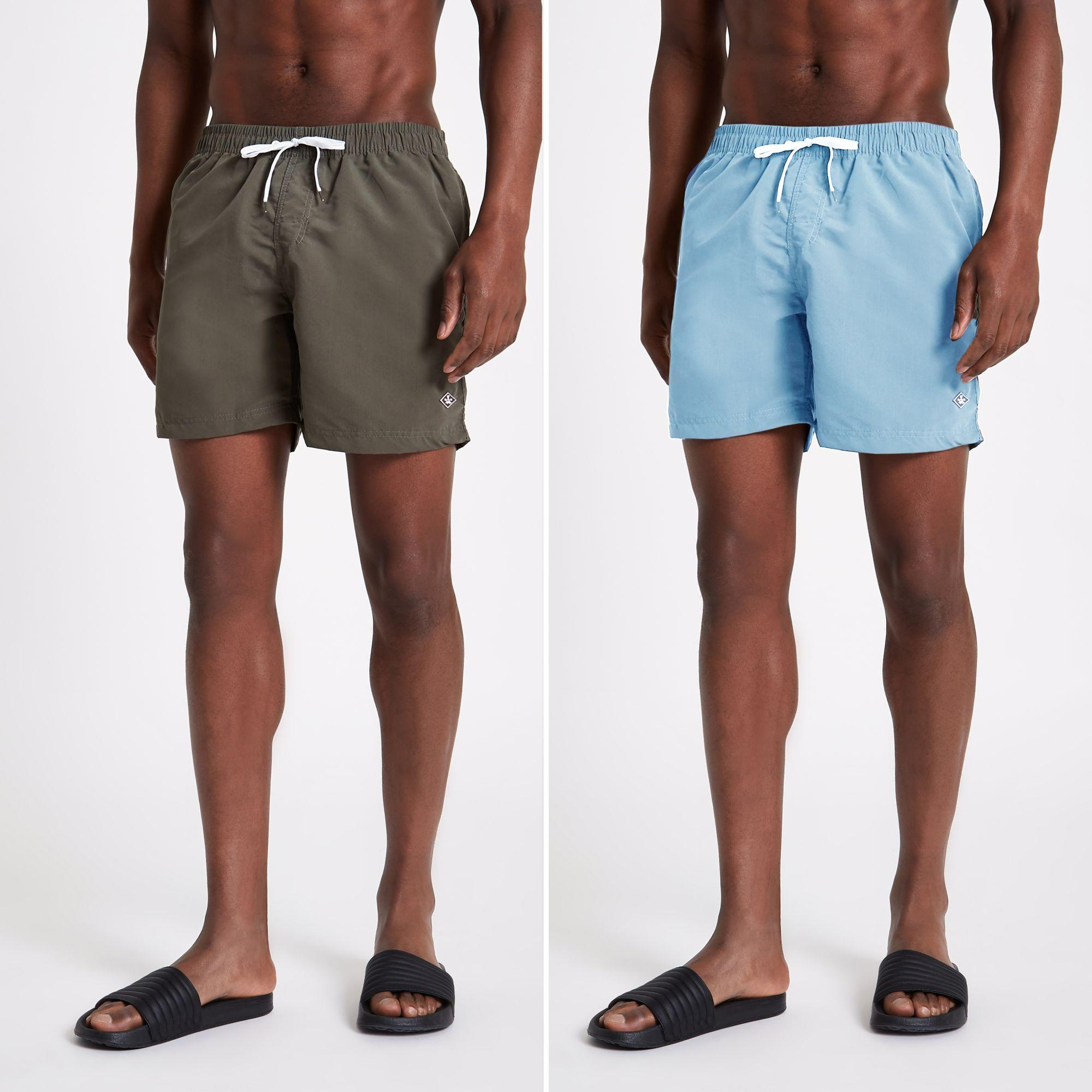 5a0752d641 Lyst - River Island Green And Light Blue Swim Trunks 2 Pack in Blue ...