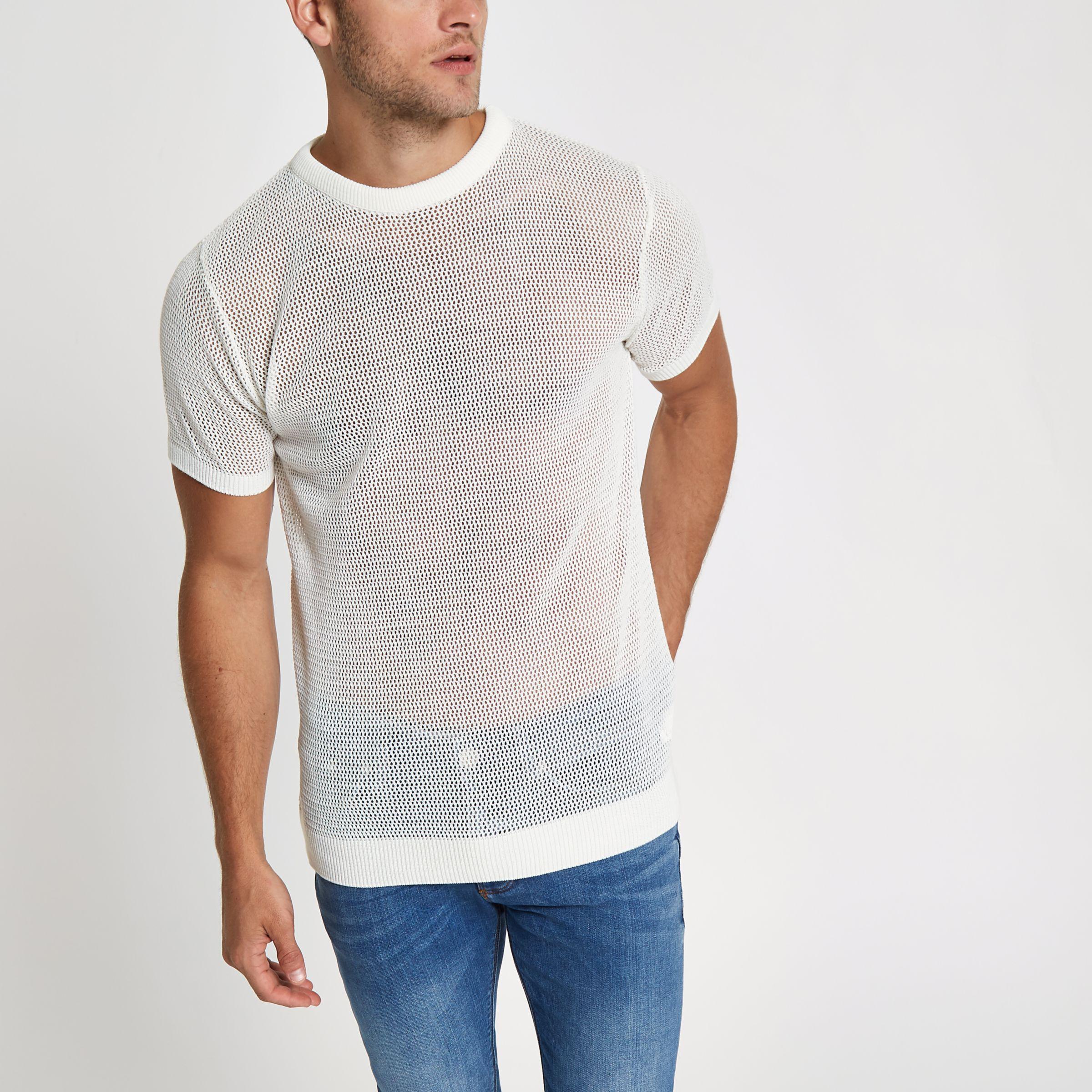Mens Ecru mesh slim fit T-shirt River Island Cheap Sale Purchase o0TCo5U