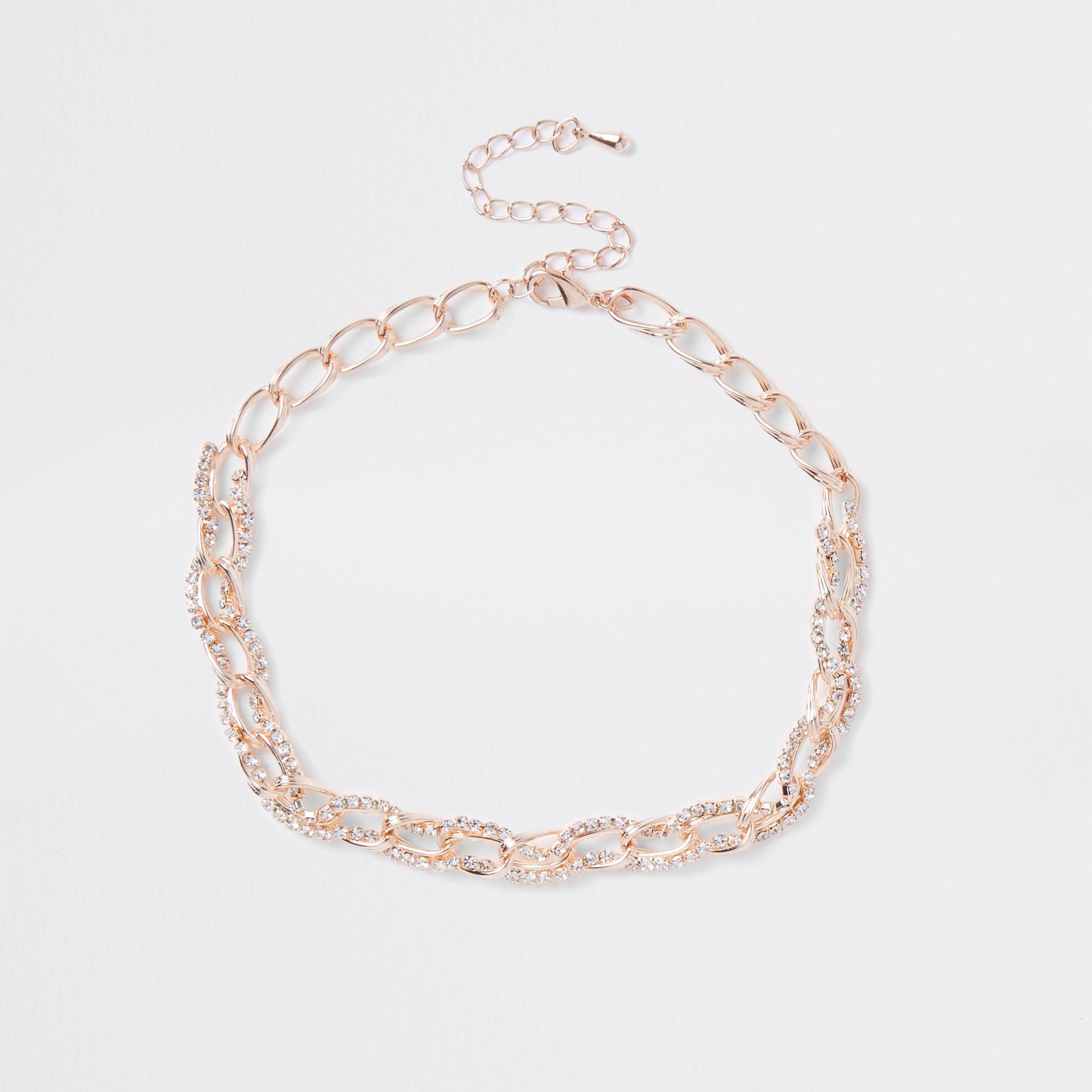 cabaf88f9183e River Island Rose Gold Diamante Chain Link Choker - Lyst