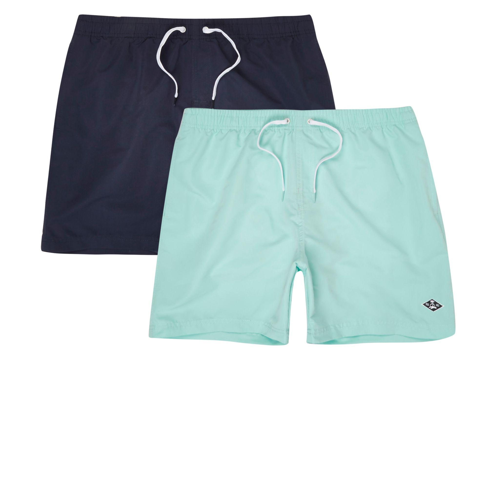 fffcb7af95 River Island Navy And Light Blue Swim Shorts Two Pack in Blue for ...