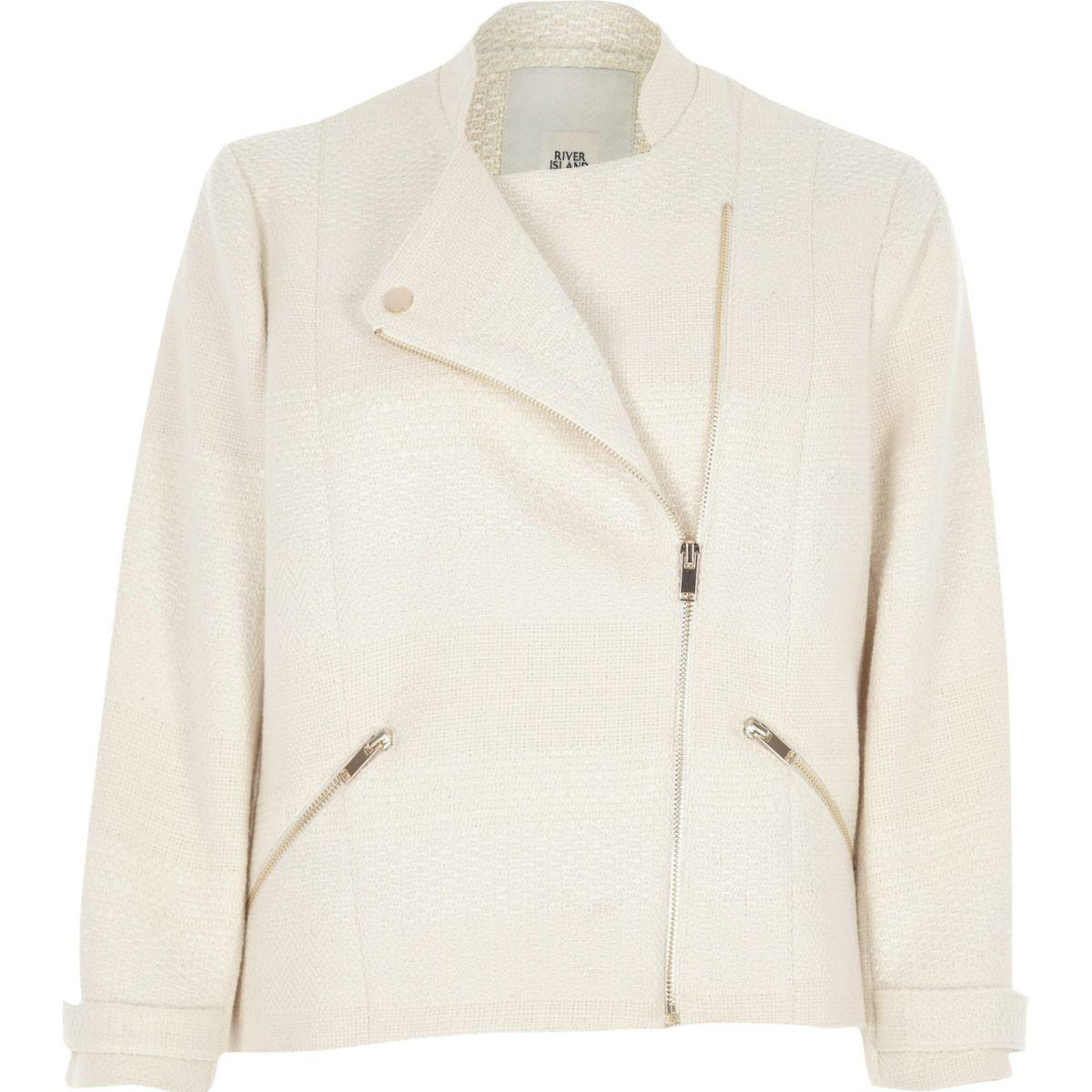 Cream Striped Blazer River Island