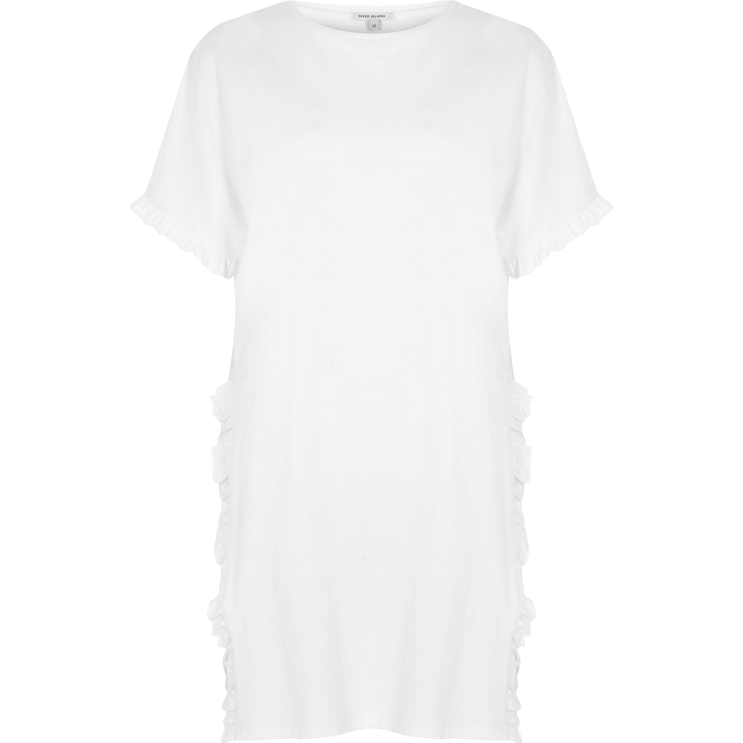 2f9ac95e09a04 River Island White Frill Side Split Oversized T-shirt in White - Lyst