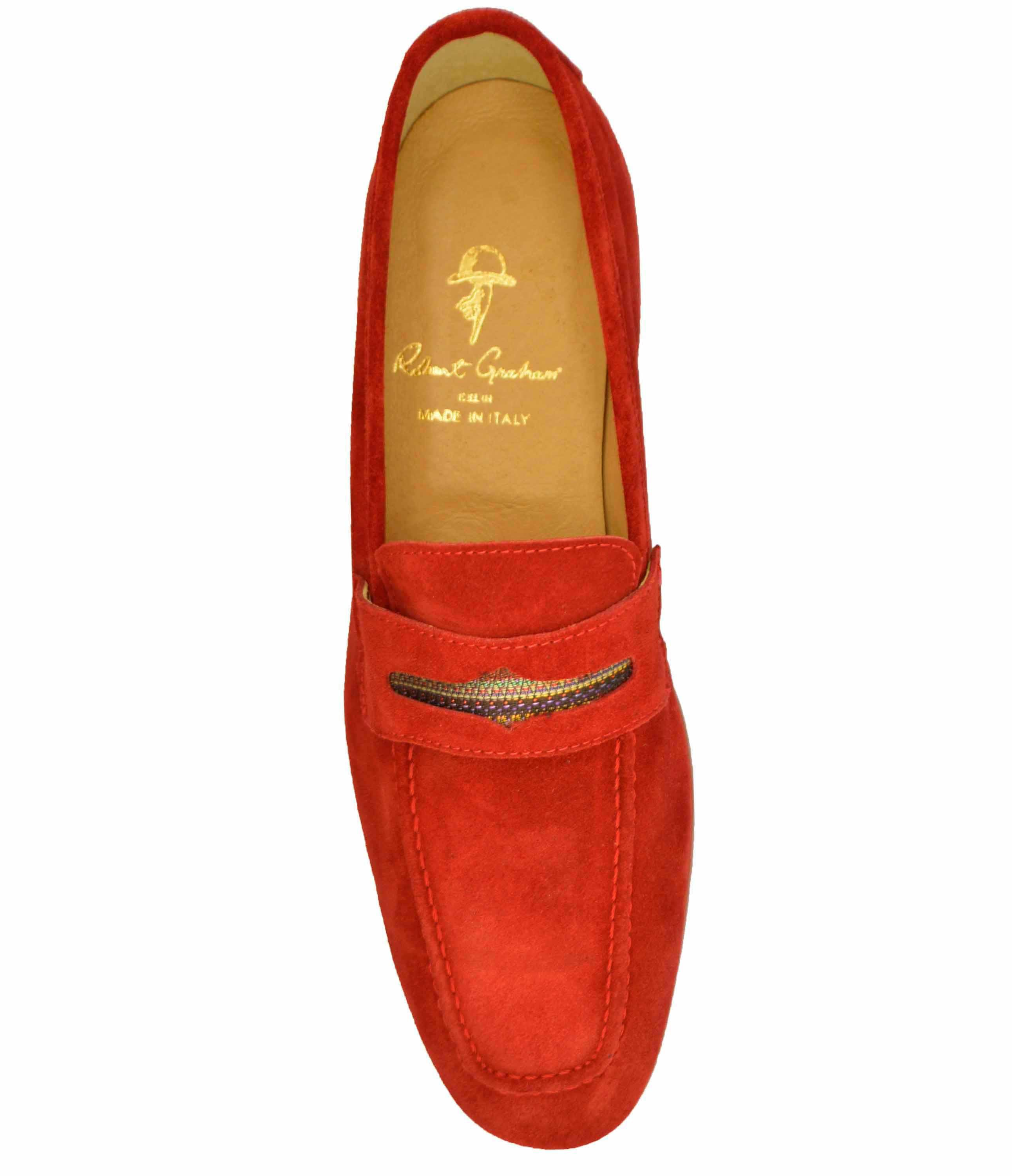 Lyst - Robert Graham Sand Hills Suede Penny Loafer in Red ...