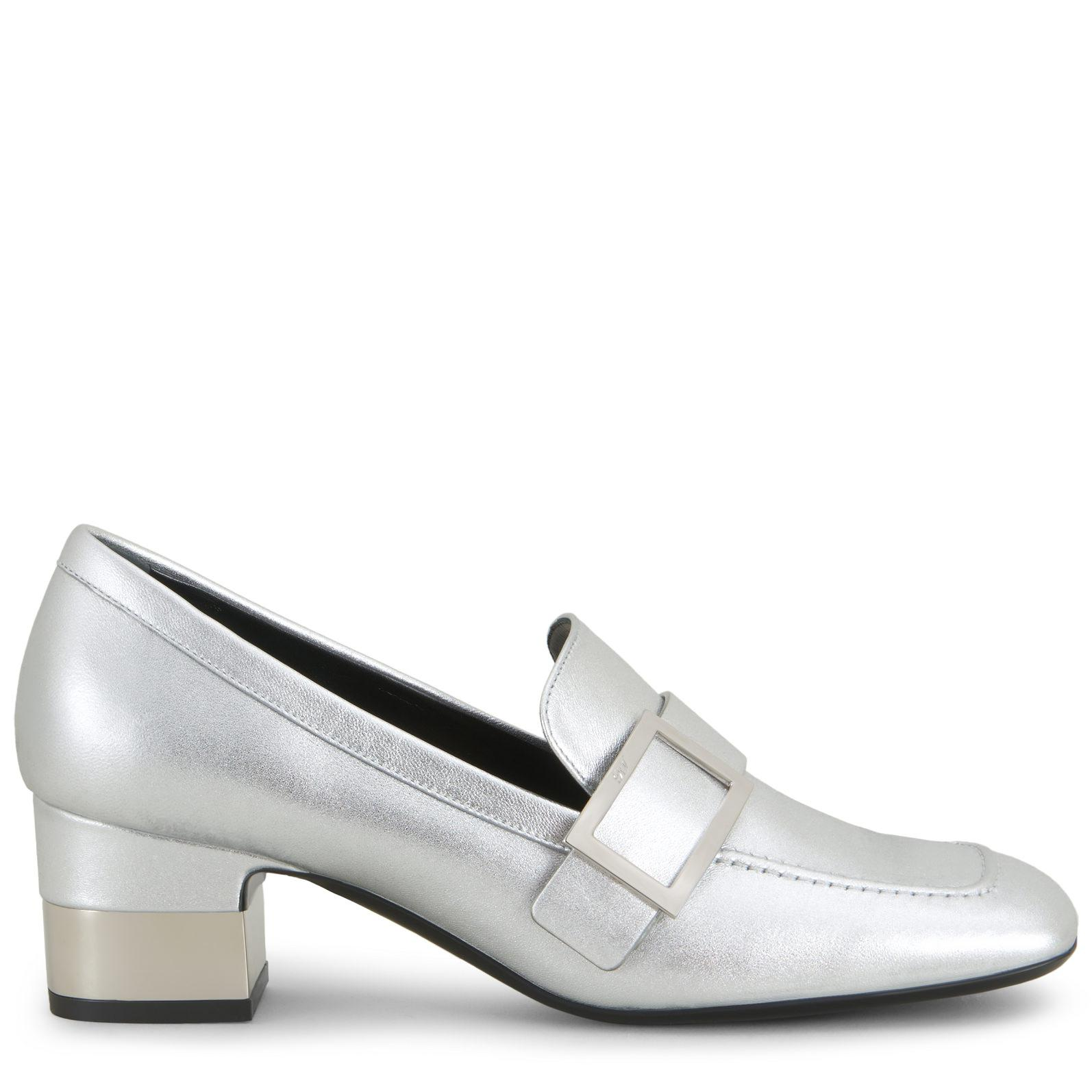 36f6ab09bc7 Roger Vivier Podium Metal Buckle Loafers in Metallic - Lyst