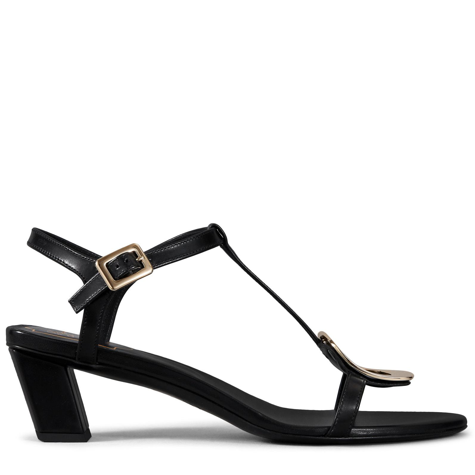 feecf81059fd Lyst - Roger Vivier Chips Sandals In Leather in Black