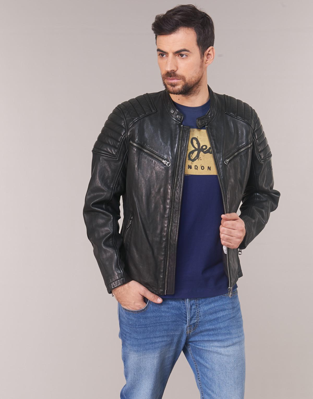b97e036fd77 Pepe Jeans Keith Summer Leather Jacket in Black for Men - Lyst
