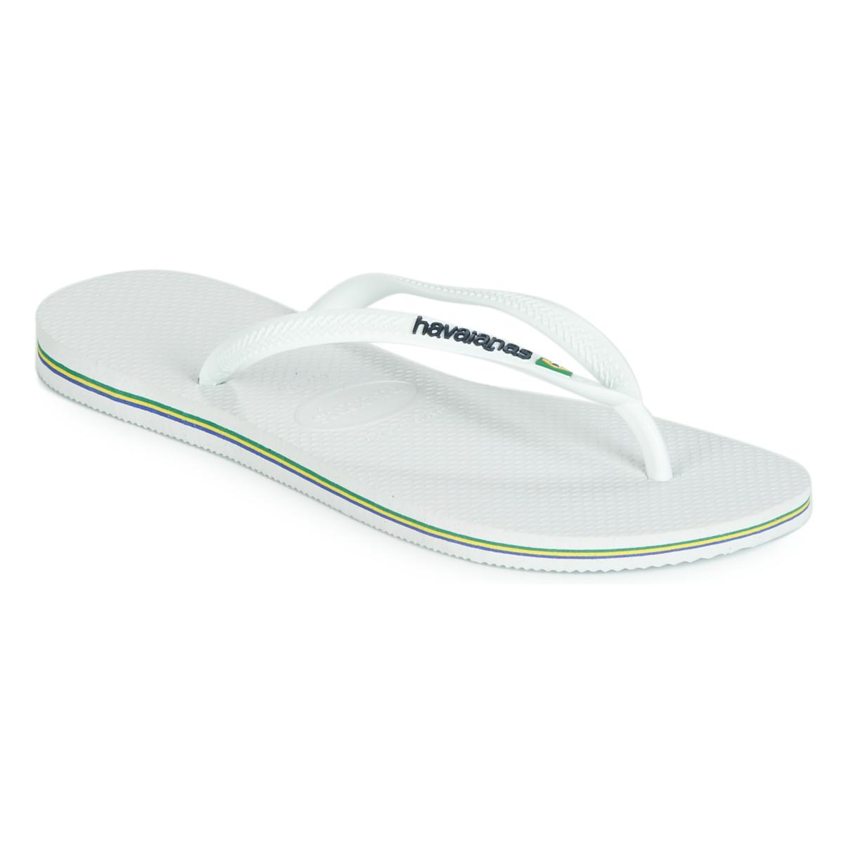 0f6e756571bd Havaianas - White Slim Brasil Logo Flip Flops   Sandals (shoes) - Lyst.  View fullscreen