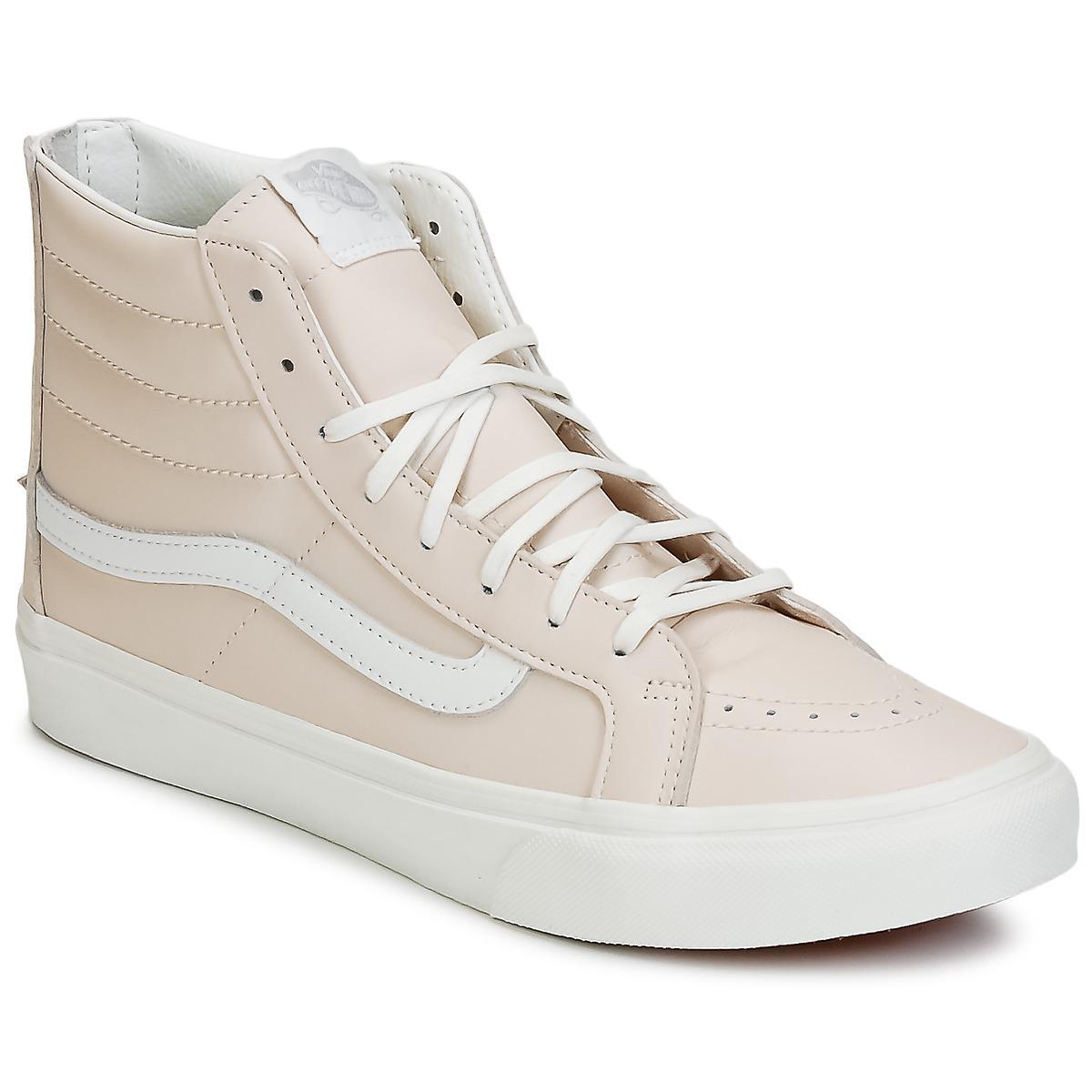Vans Sk8 Hi Slim Zip Shoes High Top Trainers In Pink Lyst Sayings Sneakers True White Womens