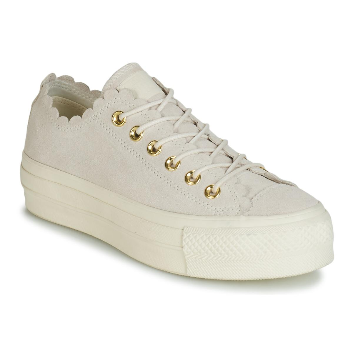 24560359f5bb Converse. Women s Natural Chuck Taylor All Star Platform Frilly Thrills  Suede Ox Shoes (trainers)