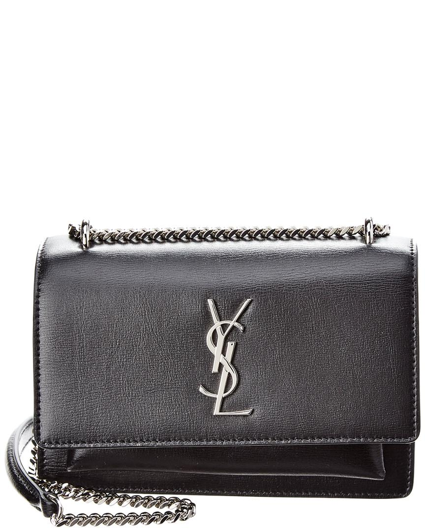 b9016261a90b8 Saint Laurent Sunset Leather Wallet On Chain in Black - Lyst