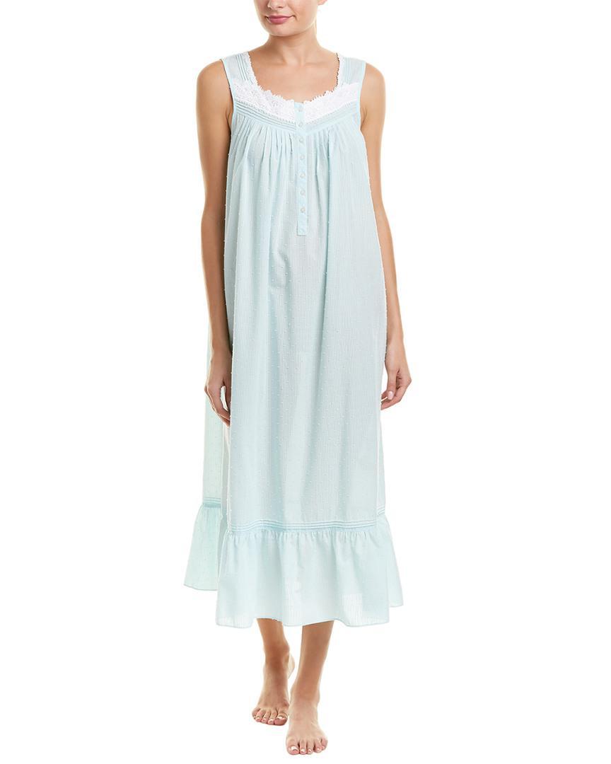 Eileen West Sheer Stripe & Clip Dot Ballet Lawn Nightgown in Blue - Lyst