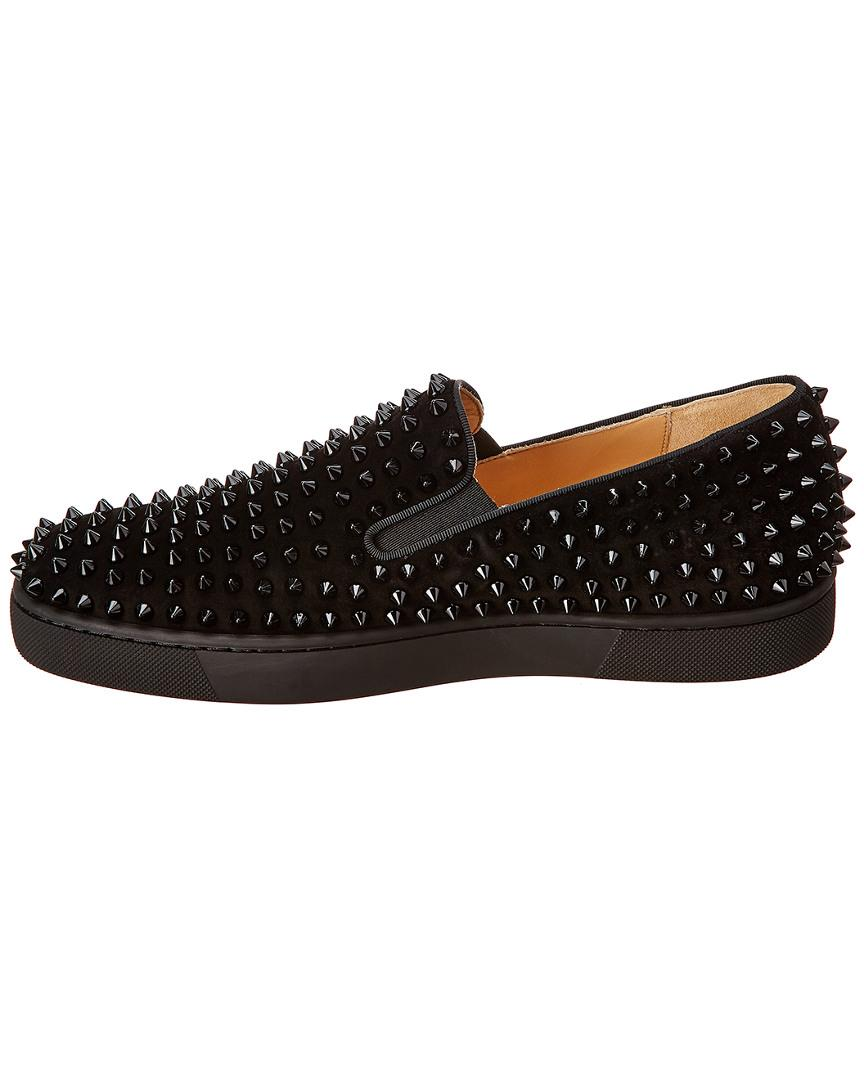 c99dfa04f77 Lyst - Christian Louboutin Roller Boat Suede Sneaker in Black for Men -  Save 20%