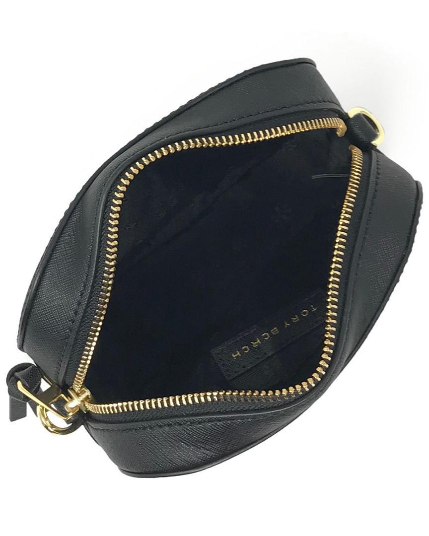 b328d55b55e2 Lyst - Tory Burch Emerson Round Leather Crossbody in Black