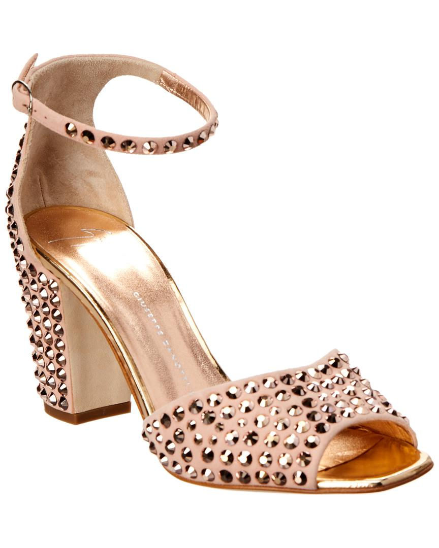 35e8512ab7bf Lyst - Giuseppe Zanotti Lavinia Embellished Suede Sandal in Pink ...
